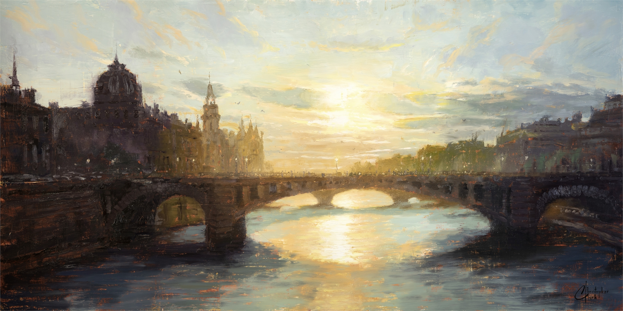 Paris - Sunset over the Seine by Christopher Clark