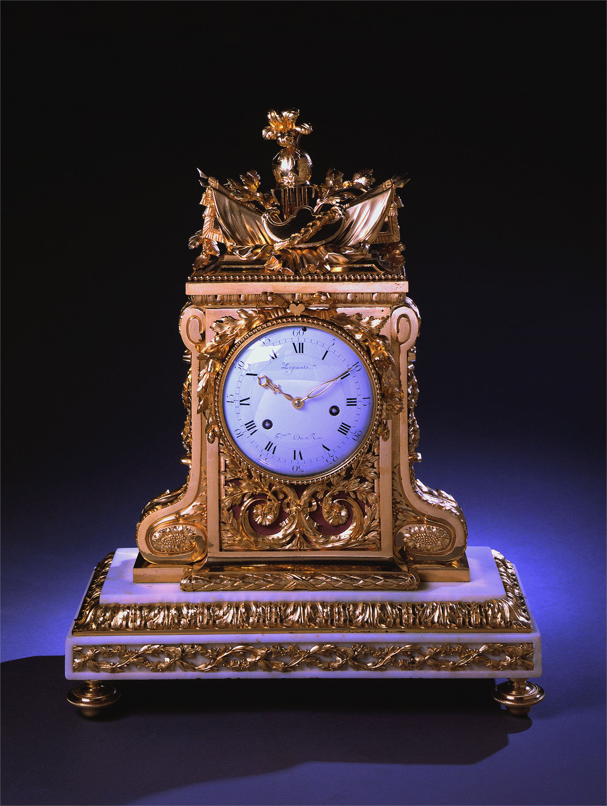 GILT BRONZE AND MARBLE MANTEL CLOCK SIGNED LEPAUTE by Jean-Andre Lepaute