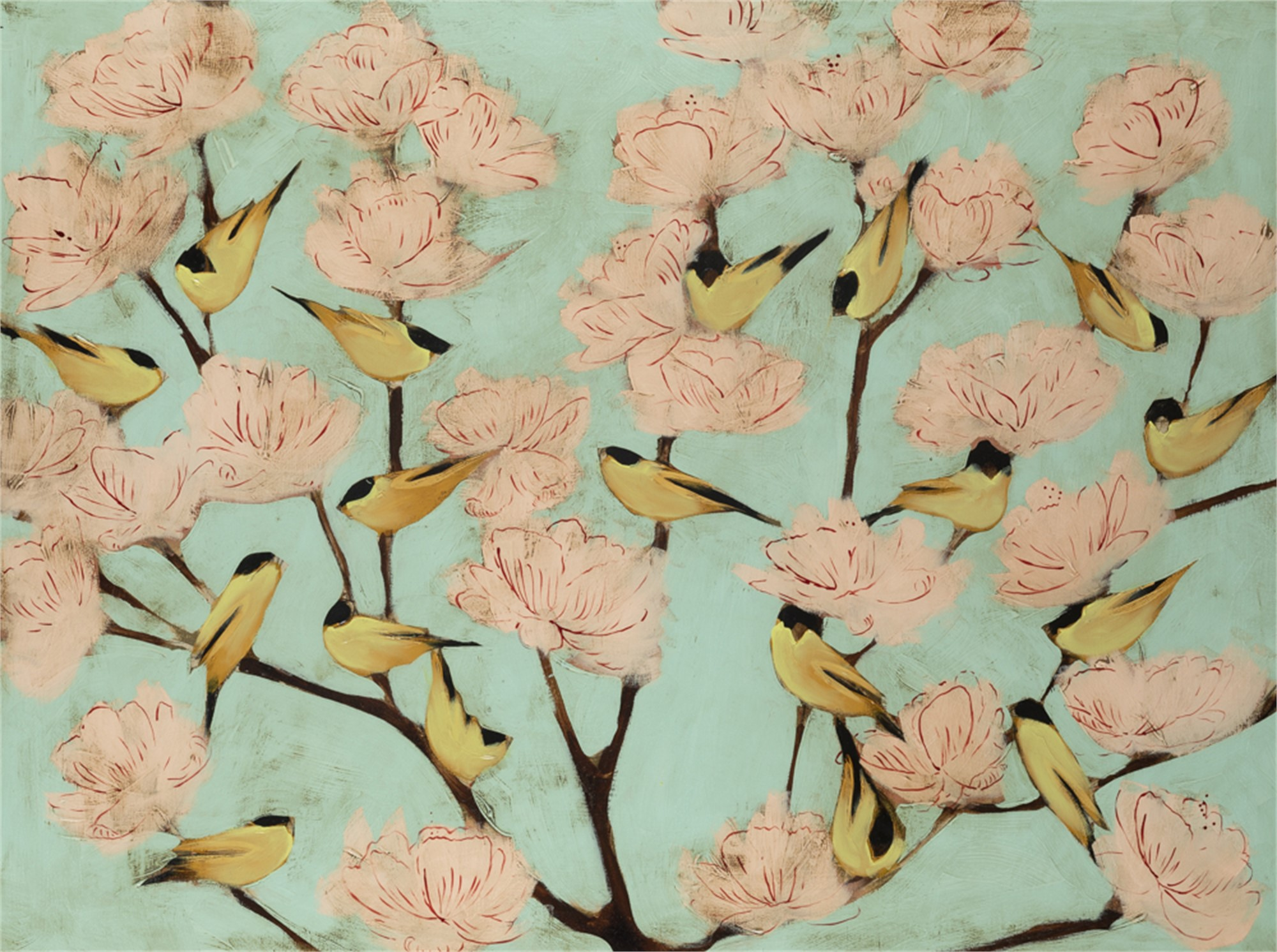 Finches and Blossoms by Joseph Bradley