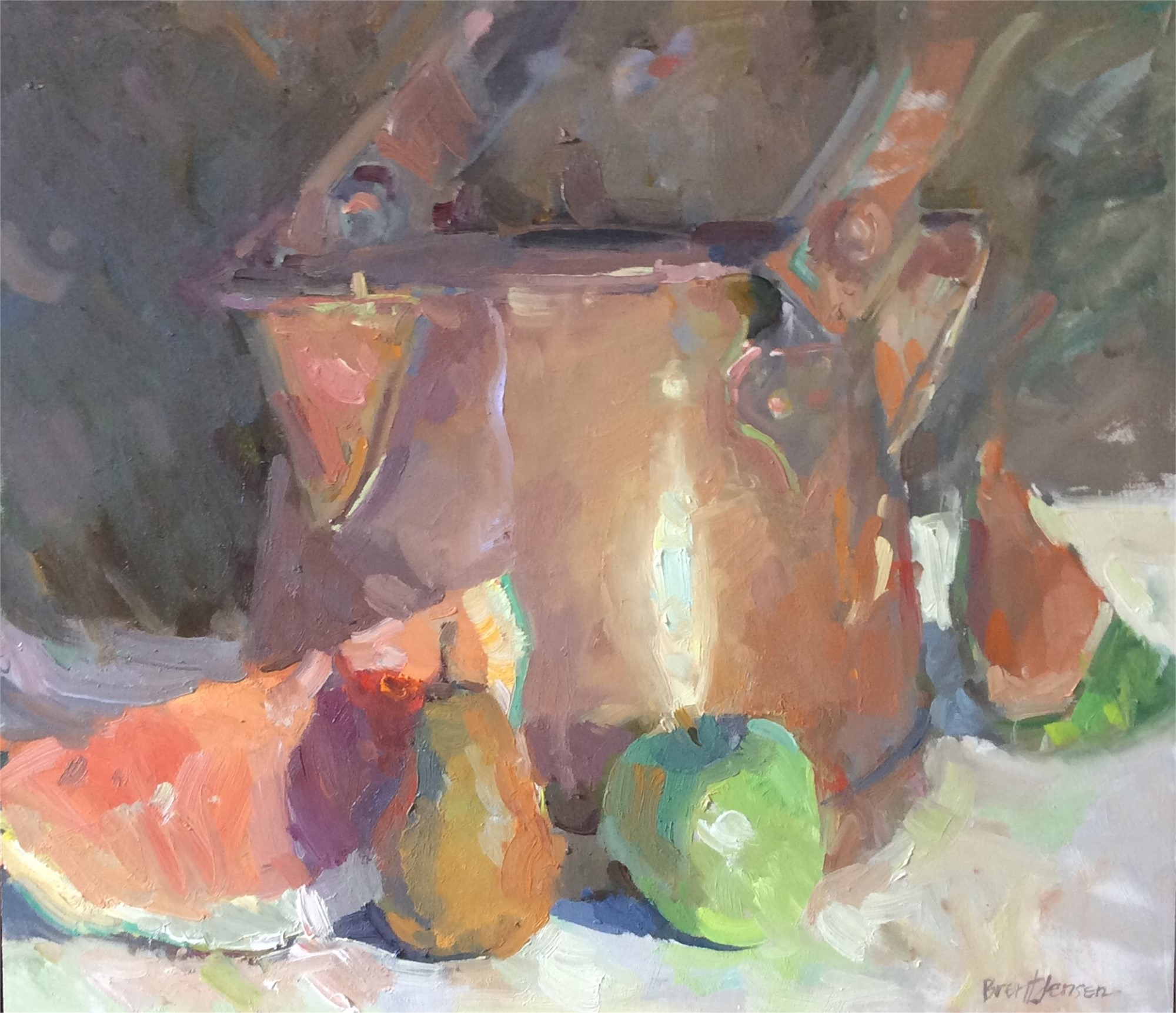 Copper Pot With Fruit, 2017 by Brent Jensen