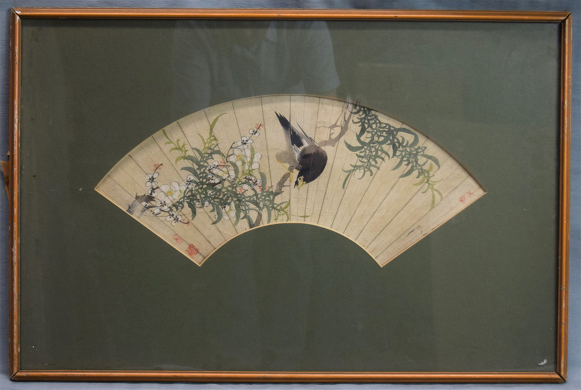 FAN PAINTING, BIRD PERCHED ON GREEN BRANCH WITH WHITE BLOSSOMS