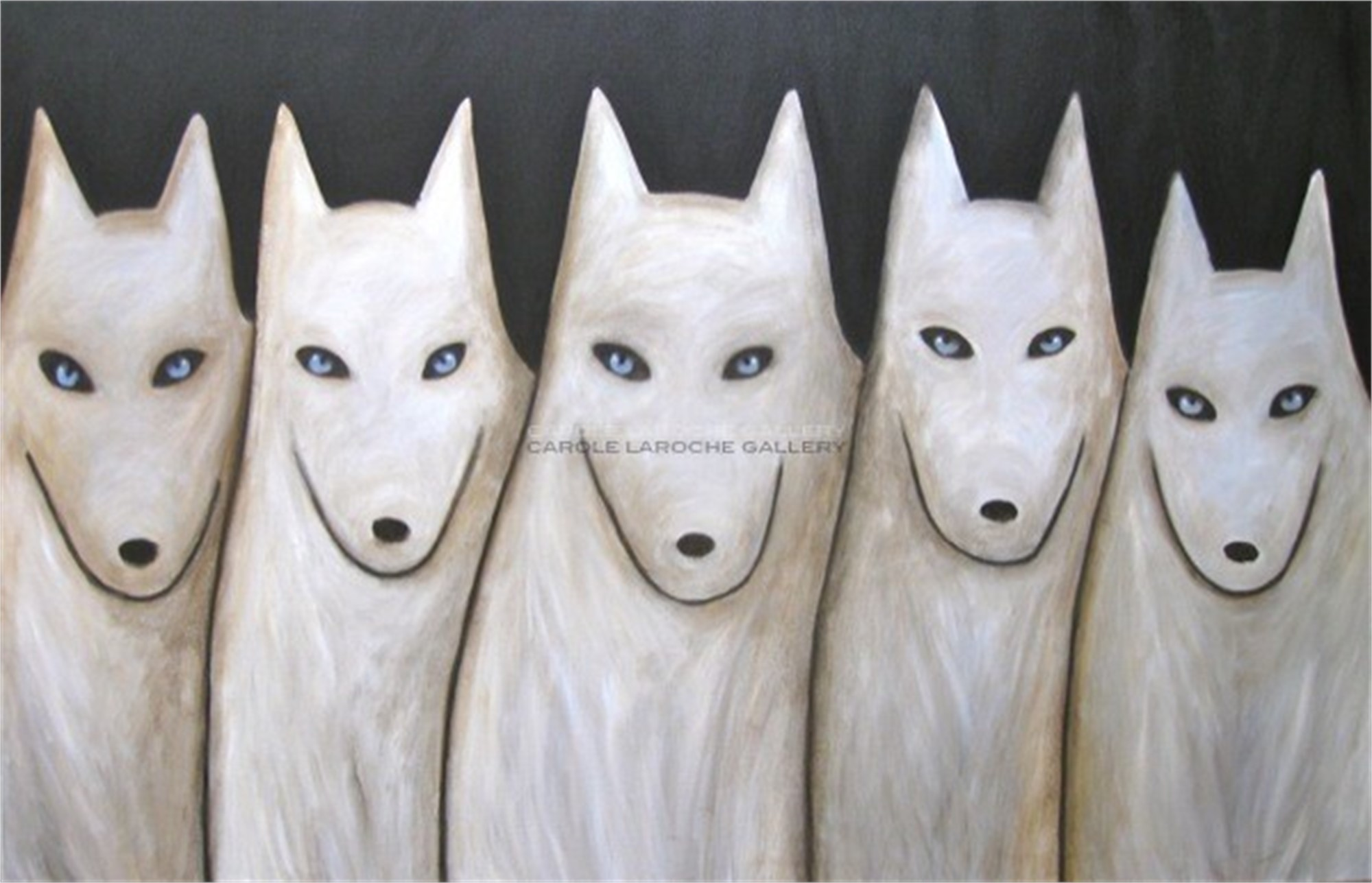 "NIGHT SKY/WHITE WOLF PACK - limited edition giclee on canvas: (large) 40""x60"" $3500 or (medium) 27""x40"" $2200 by Carole LaRoche"
