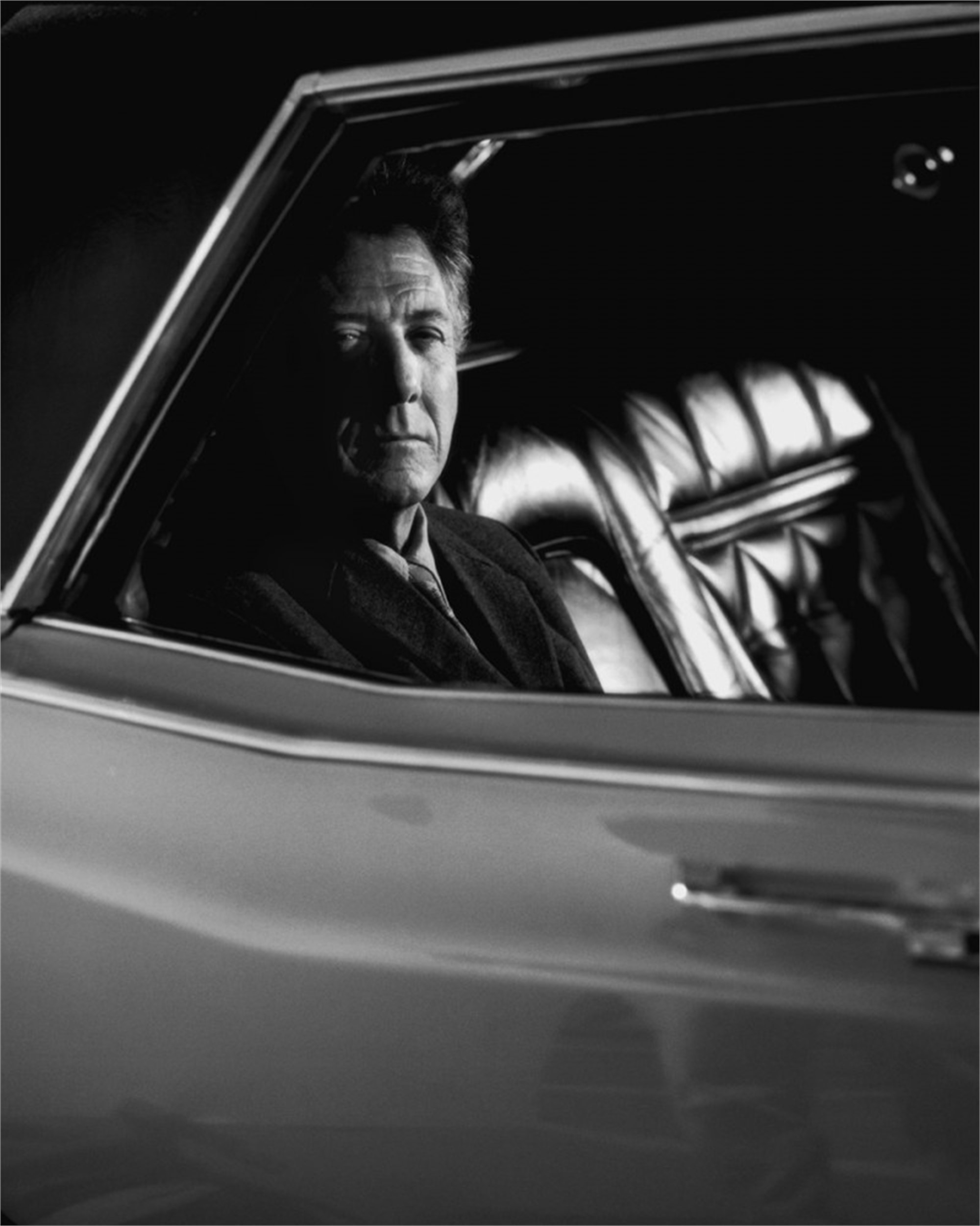 01028 Dustin Hoffman in Car BW by Timothy White