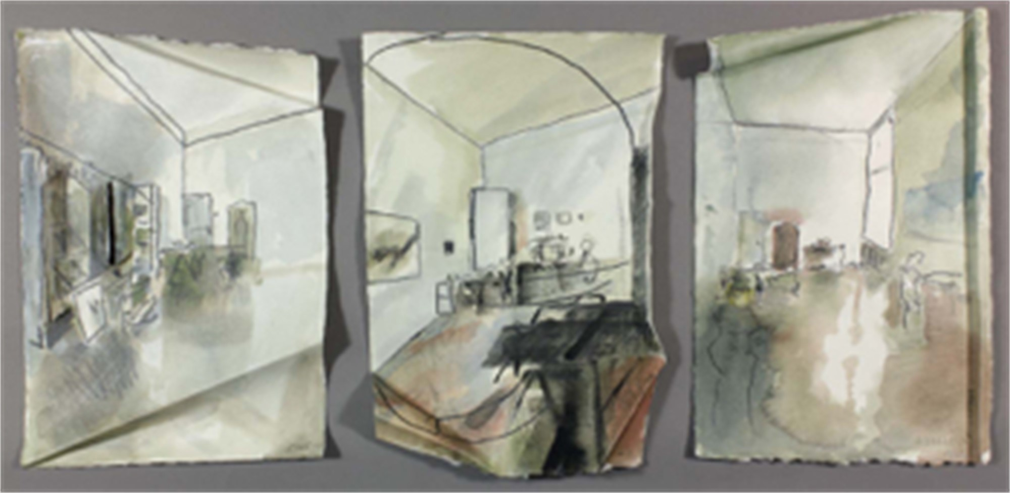 Untitled interior (triptych) by Richard Stout