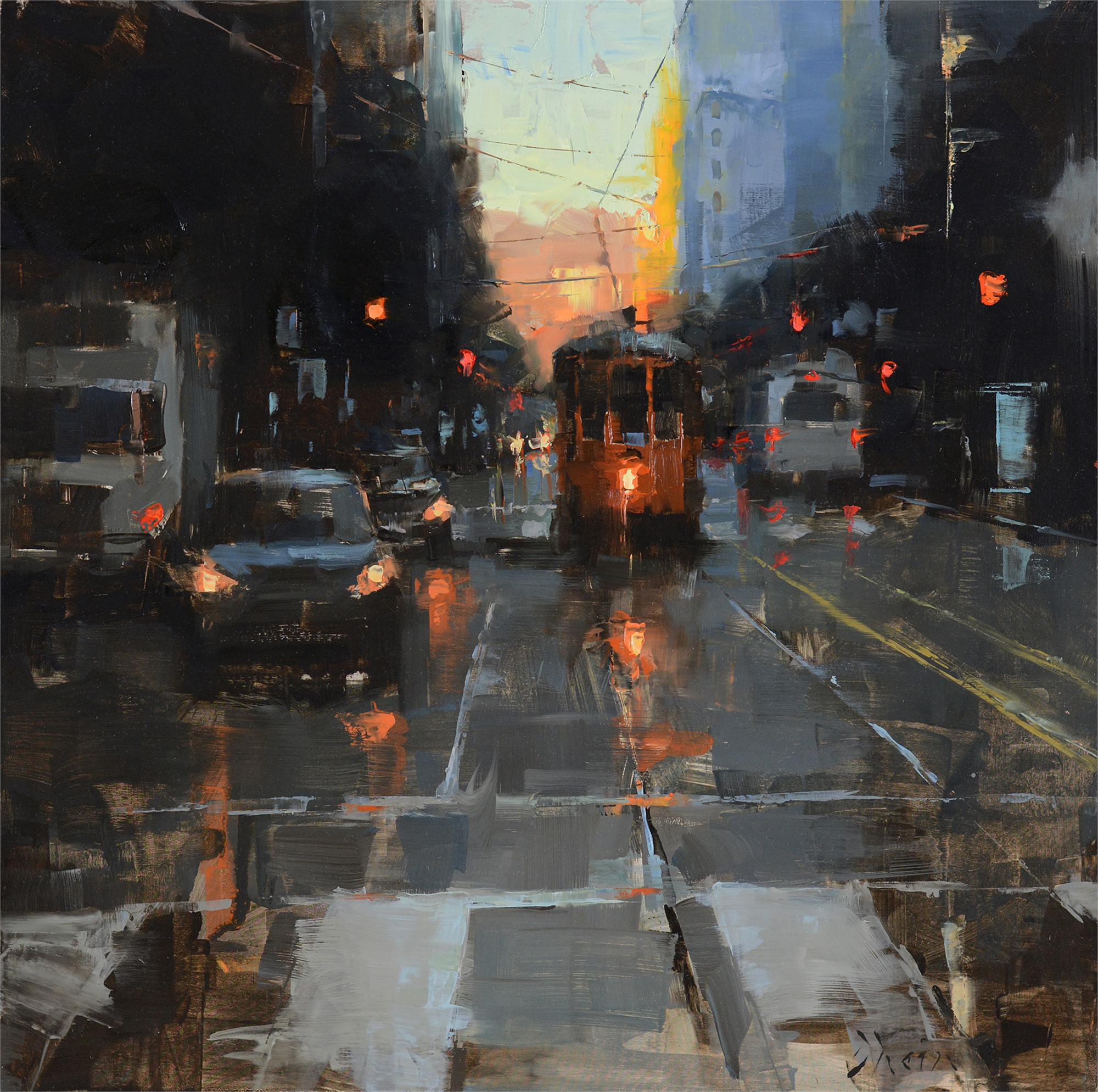 Morning Trolley on Market Street by Jacob Dhein