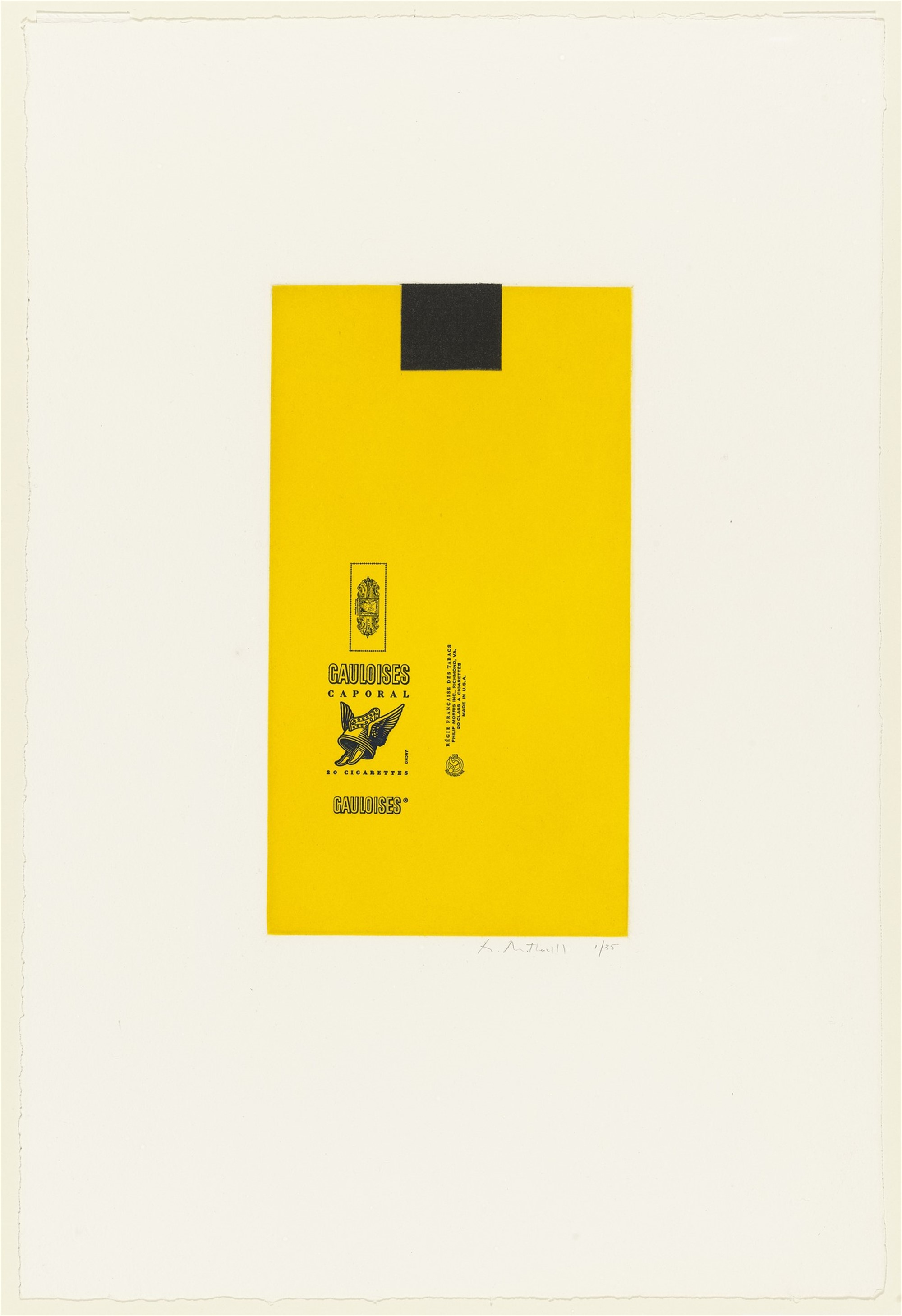 Gauloises Bleues (Yellow with Black Square) by Robert Motherwell