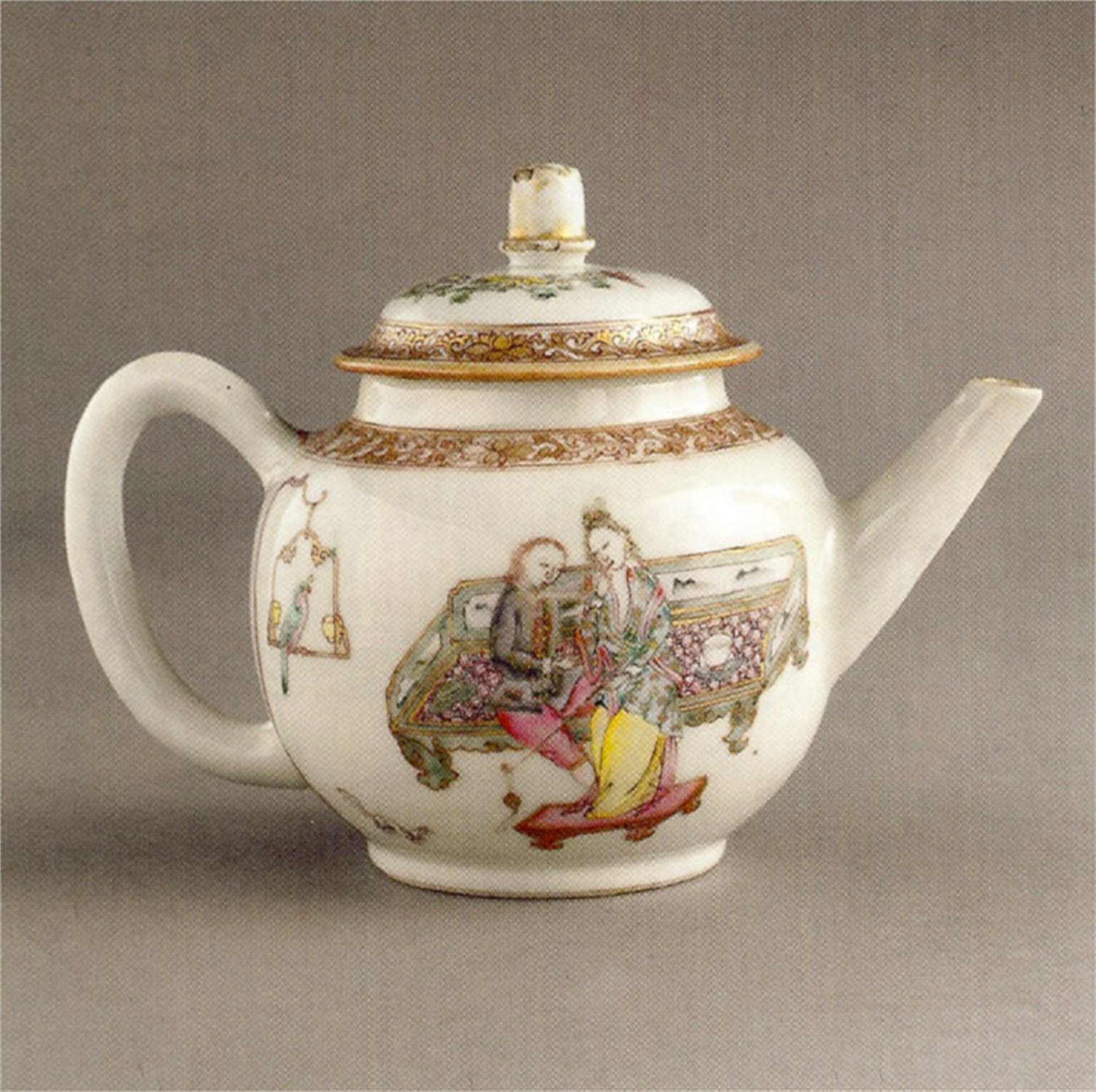 FAMILLE ROSE TEAPOT AND COVER WITH EUROPEAN COUPLE