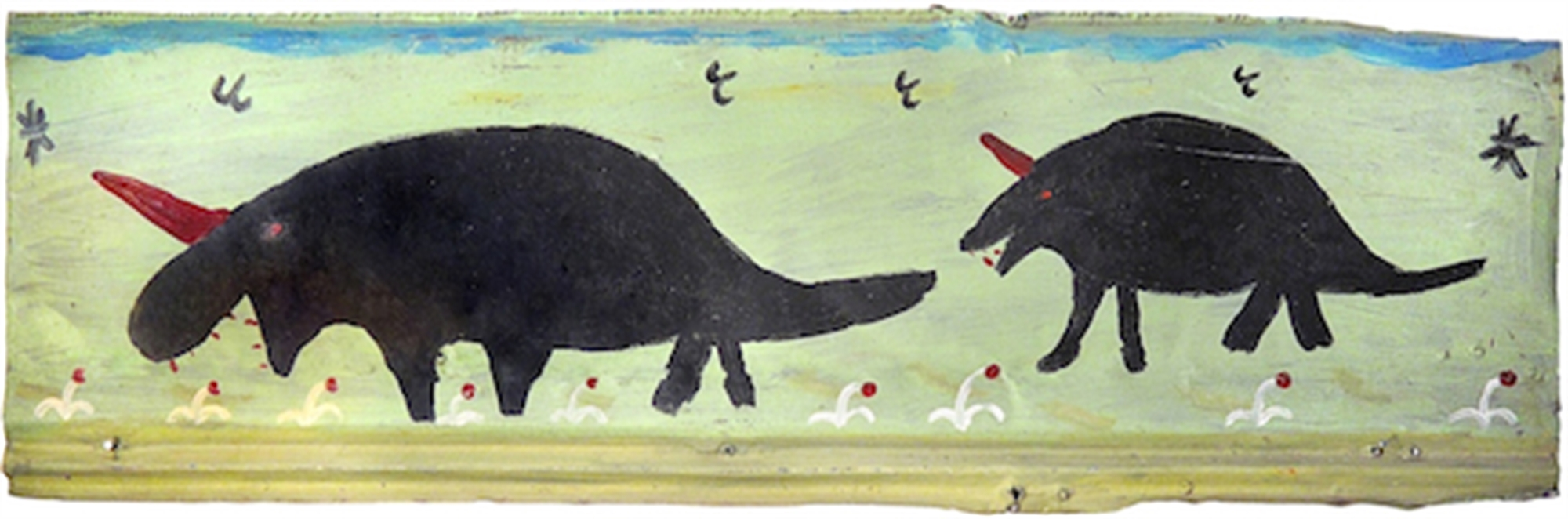Two Black Dinosaurs with Birds by R.A. Miller
