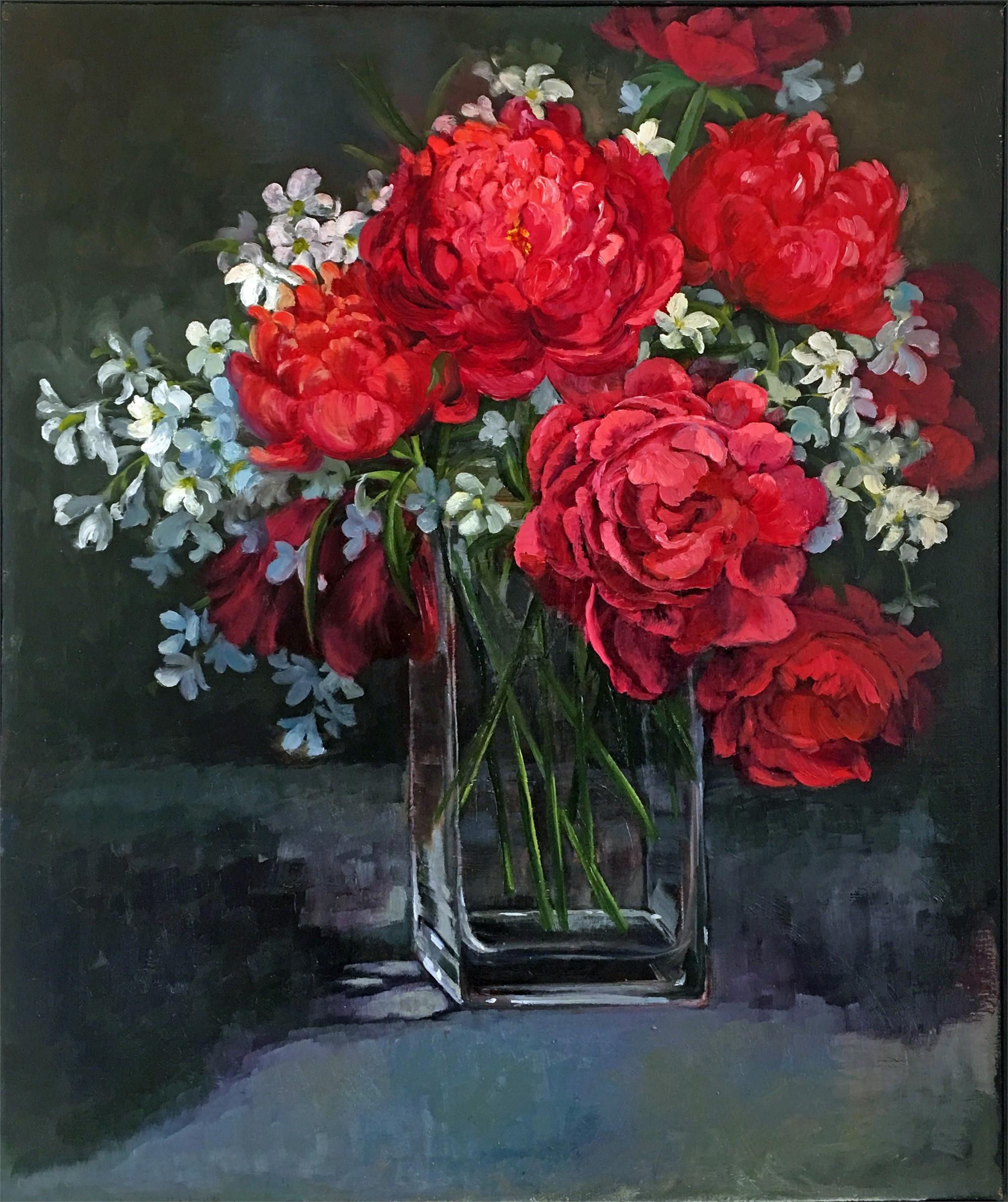 Red Peonies by Nancy Paris Pruden
