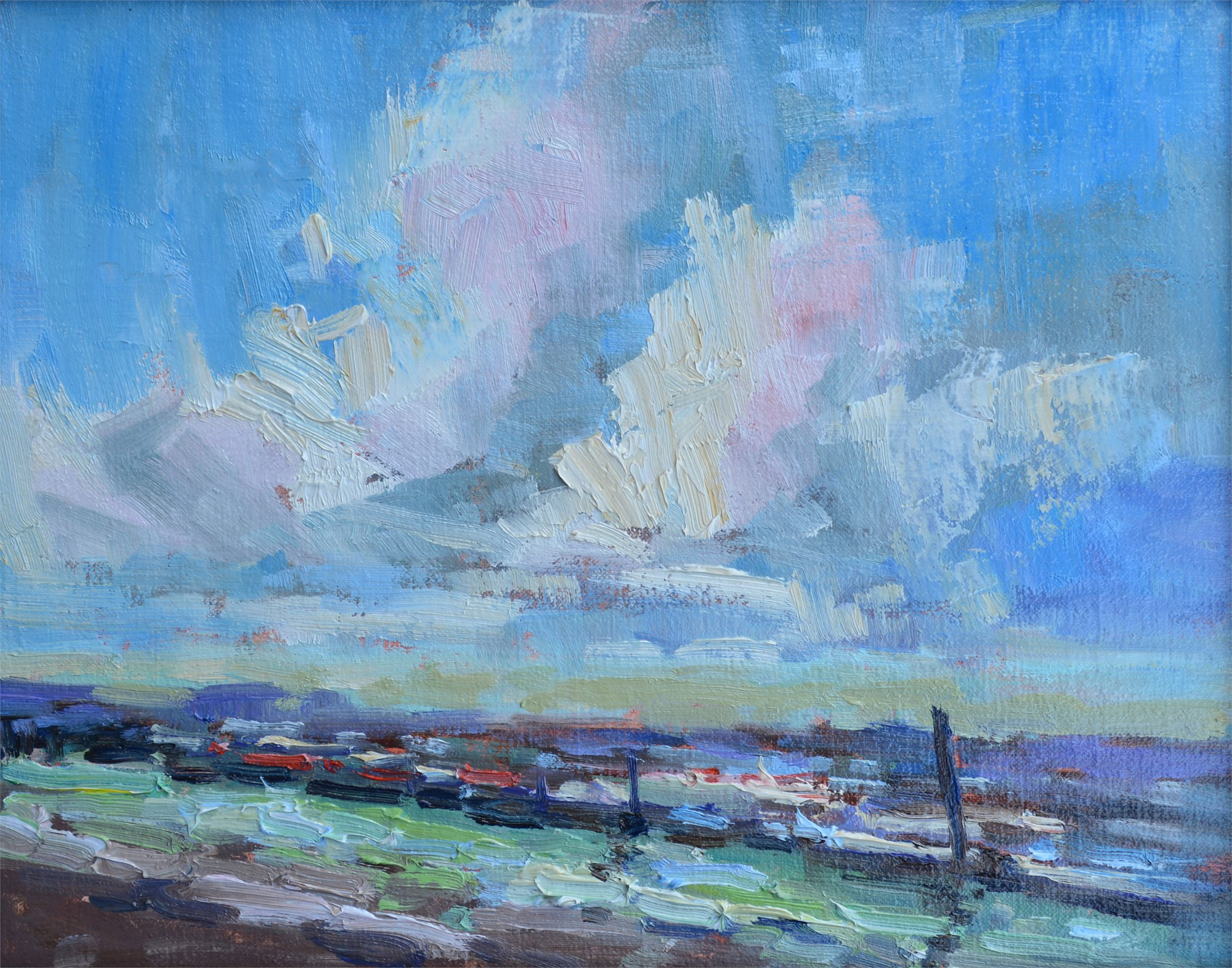 Big Clouds Over the Marina by Karen Hewitt Hagan