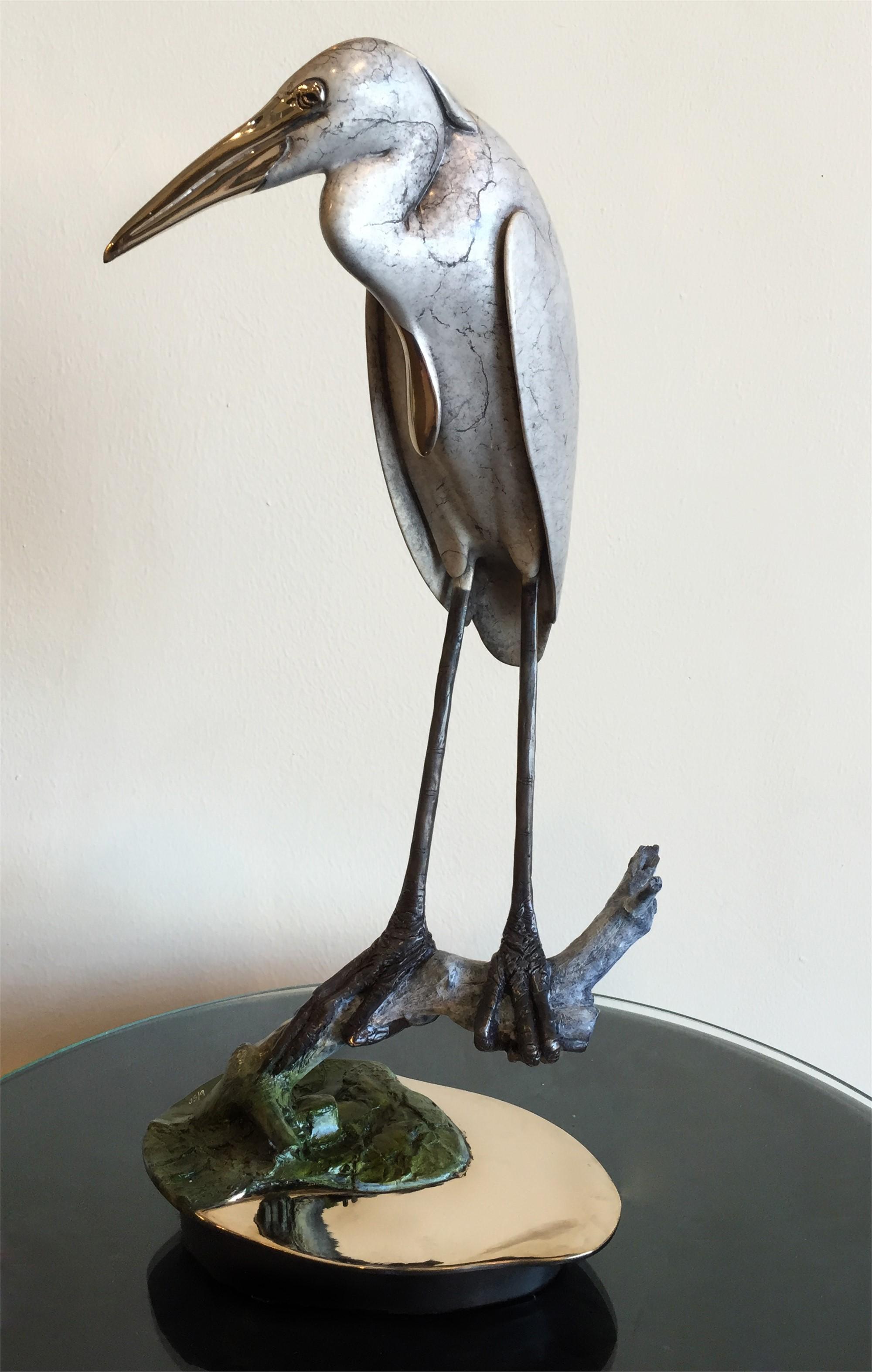 Great Blue Heron in Silver Grey by Brian Arthur
