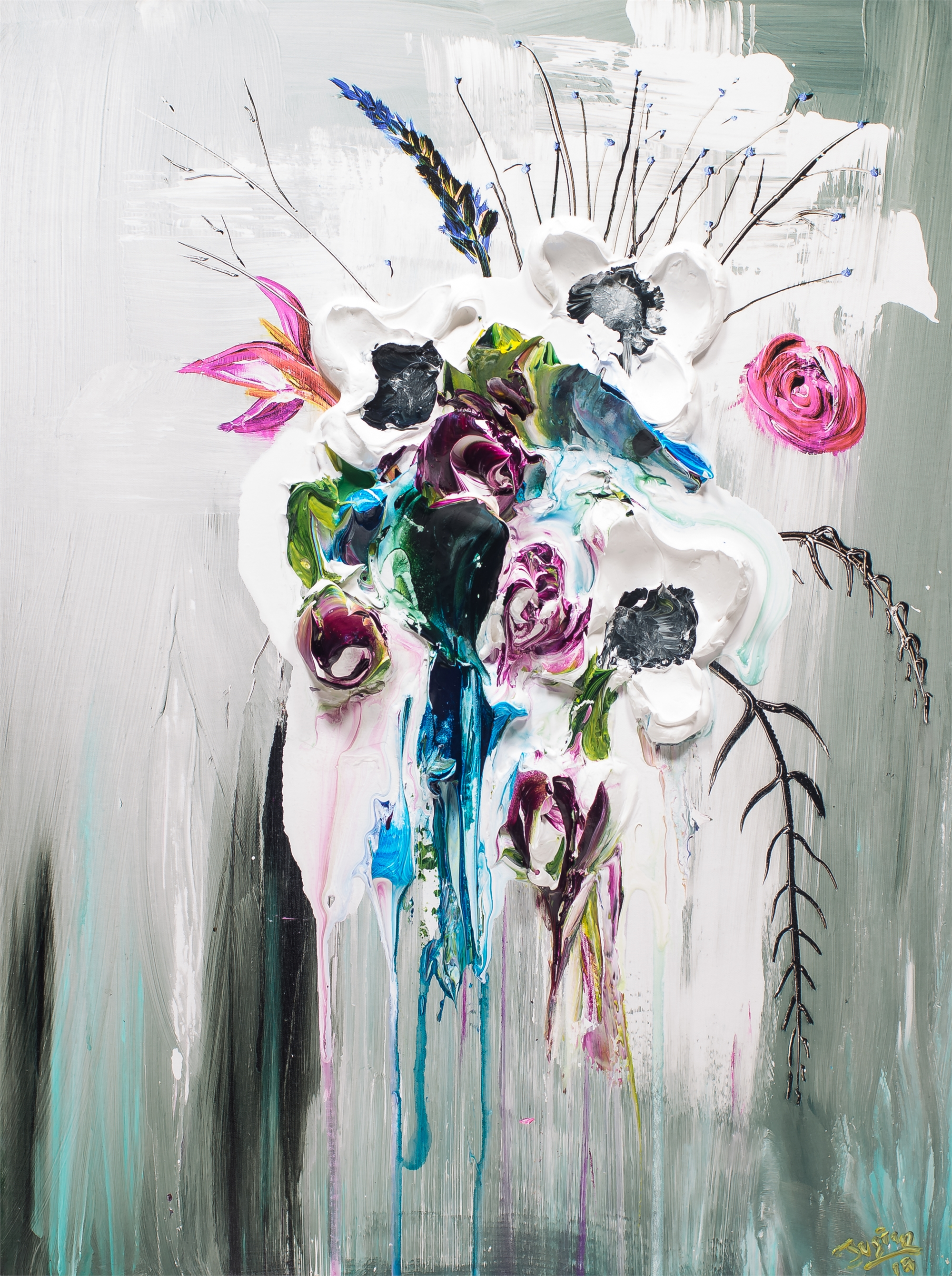 ABSTRACT FLORAL BOUQUET HPAE 7/50 by JUSTIN GAFFREY