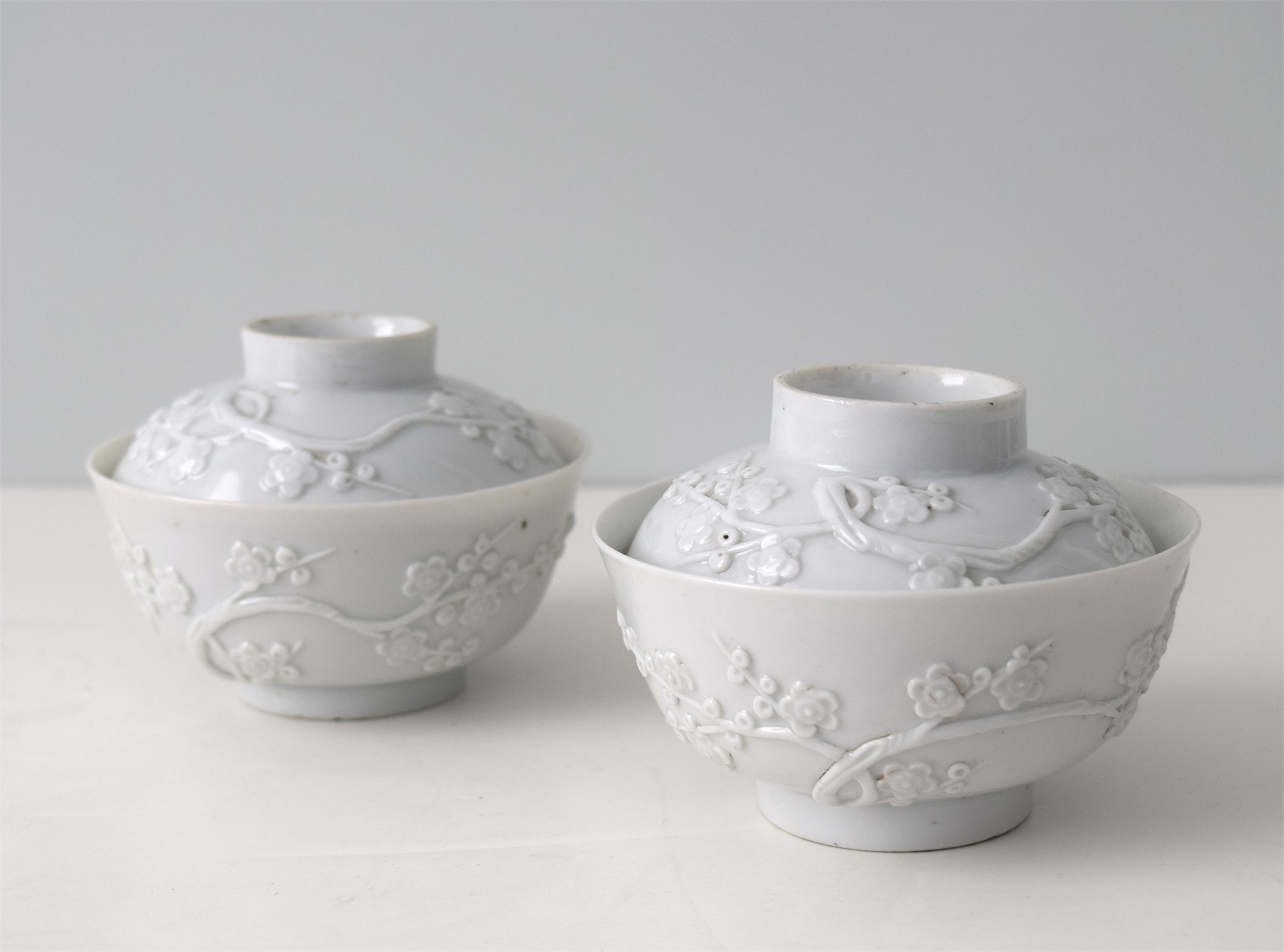 PAIR OF BLANC-DE-CHINE BOWLS AND COVERS WITH MOLDED PRUNUS BLOSSOMS
