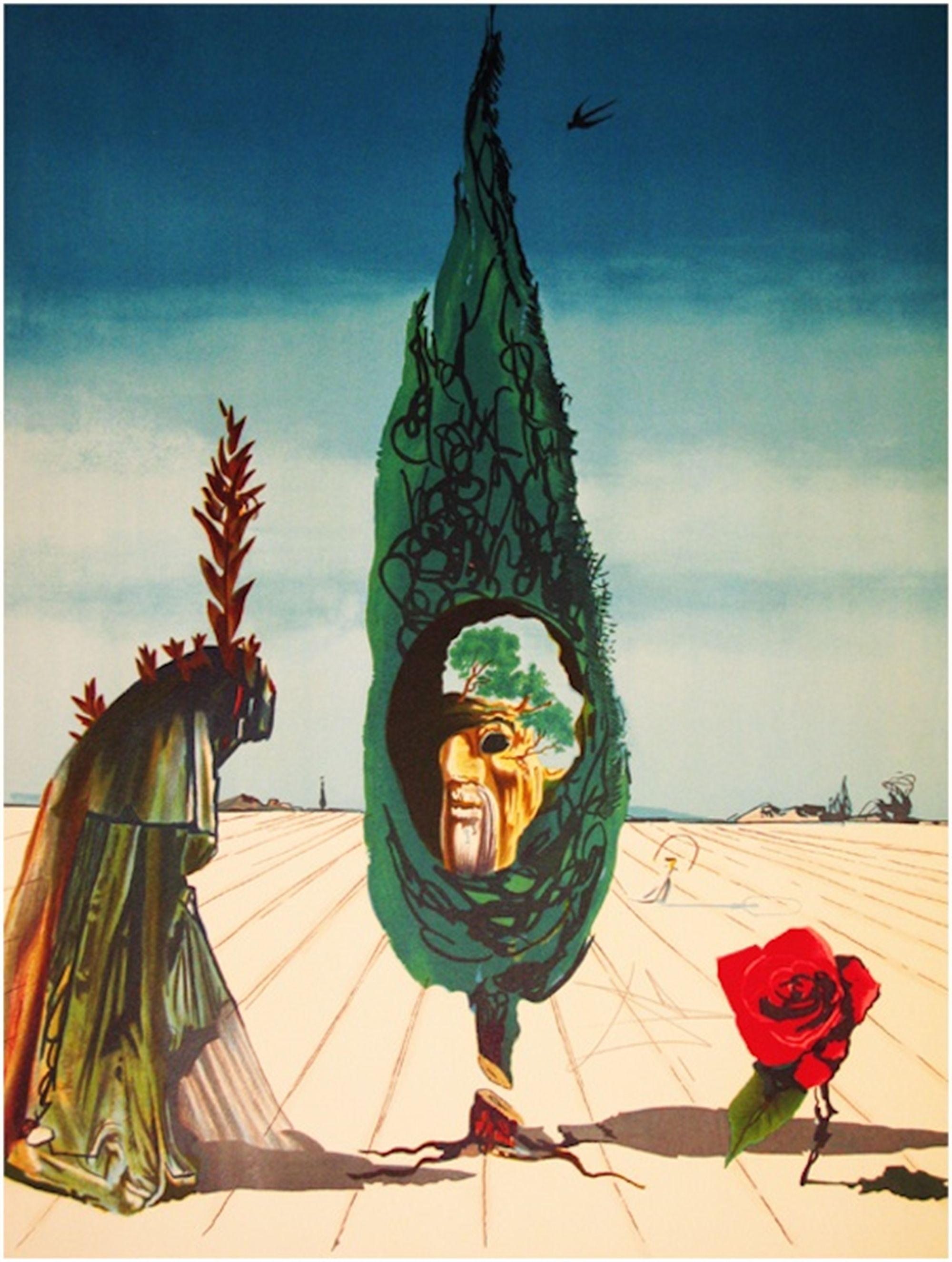 Enigma of the Rose/Death (from Visions Surrealiste Suite of 4) by Salvador Dali