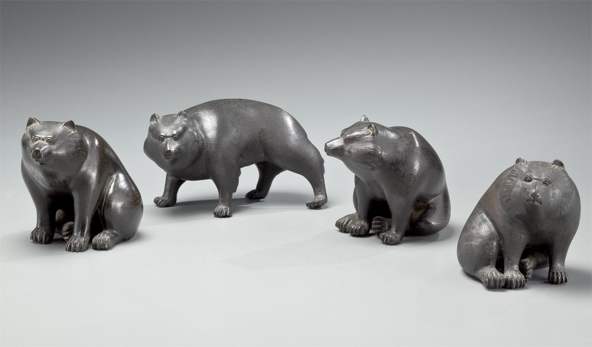 FOUR BRONZE OKIMONO OF HIMALAYAN BROWN BEARS by Morimasa and Hoju