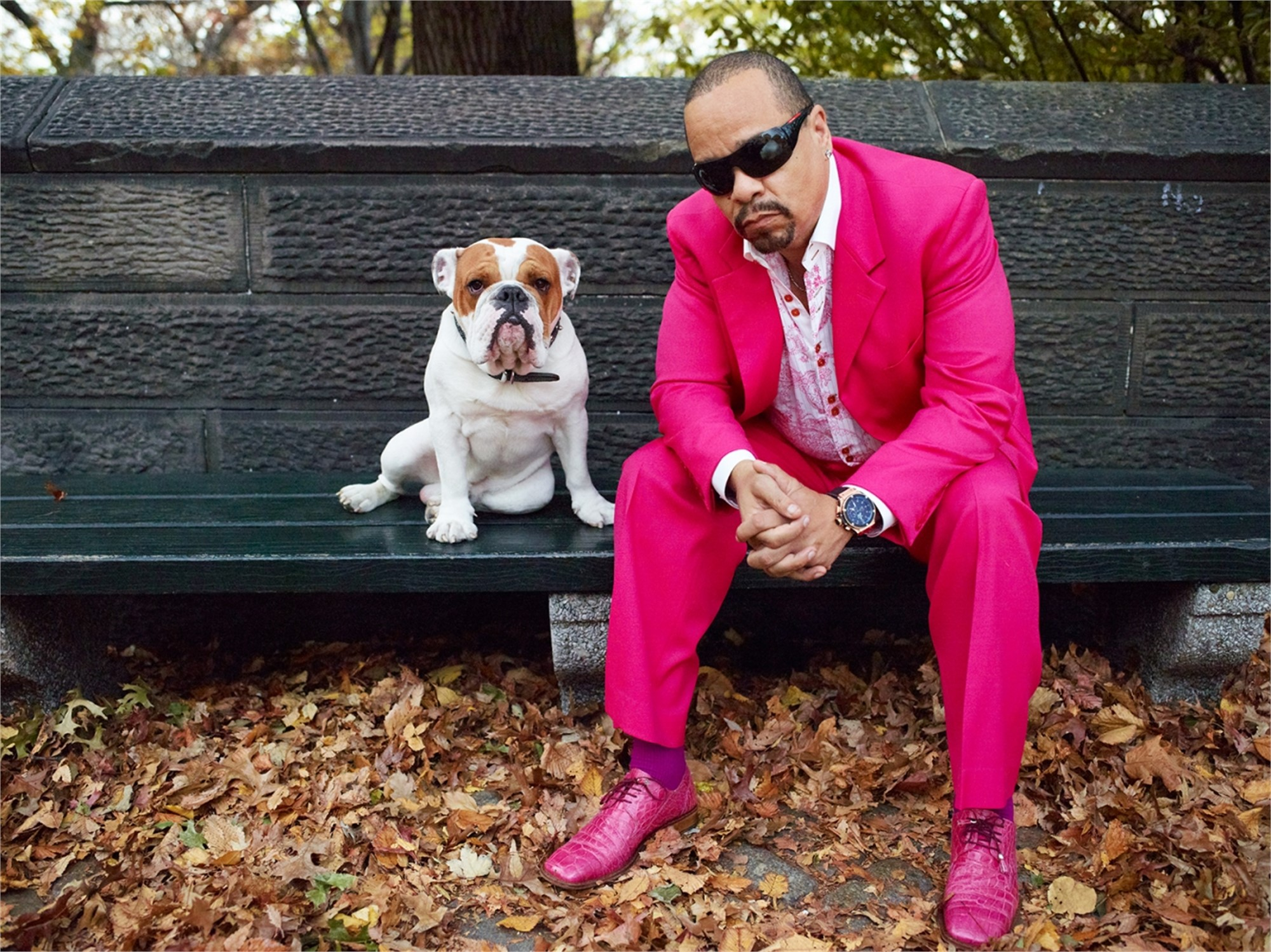 11030 Ice T and Spartacus Pink Suit on the Bench F125 Color by Timothy White
