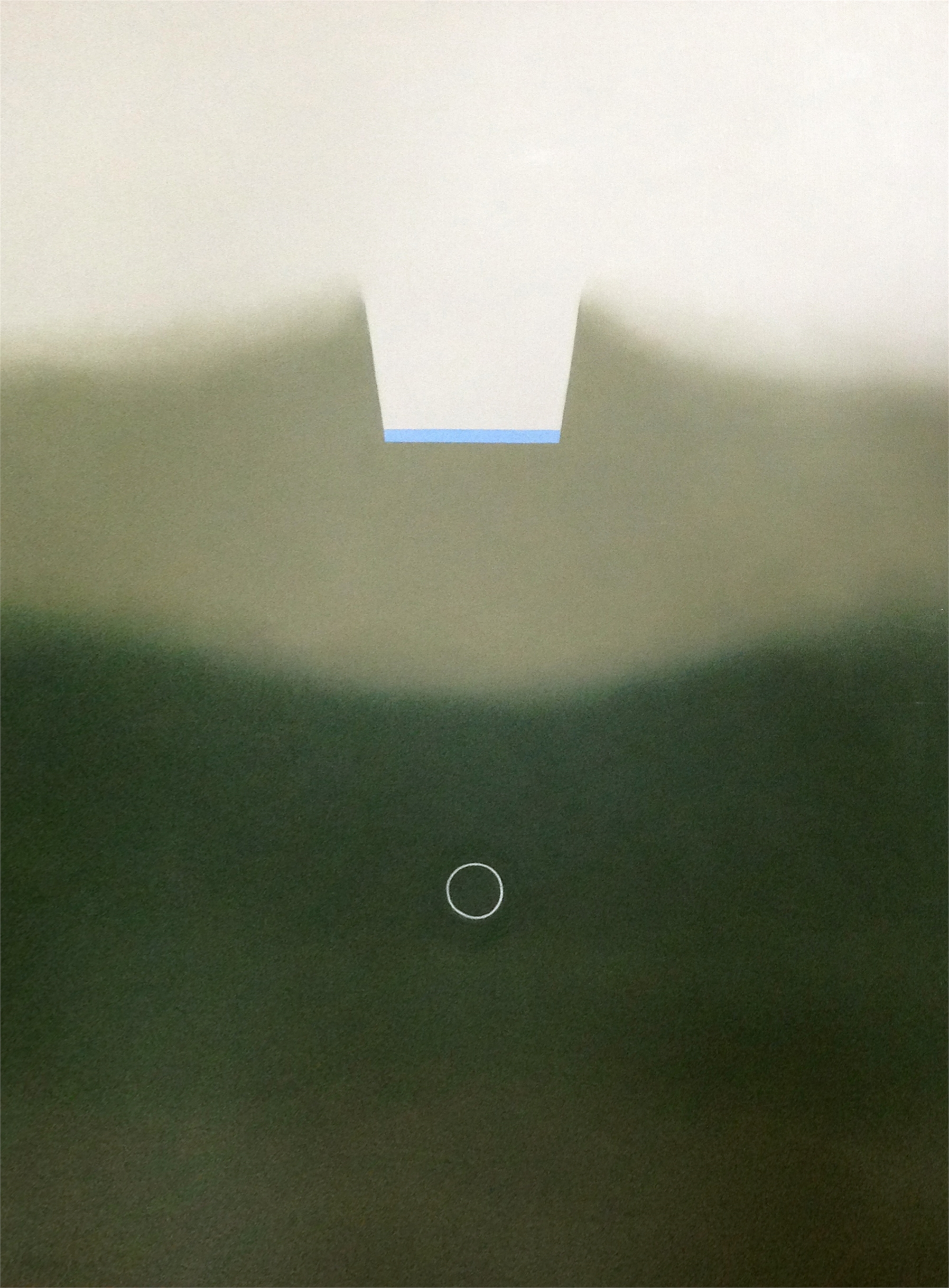 Green Scape with White Ring by Leila McConnell