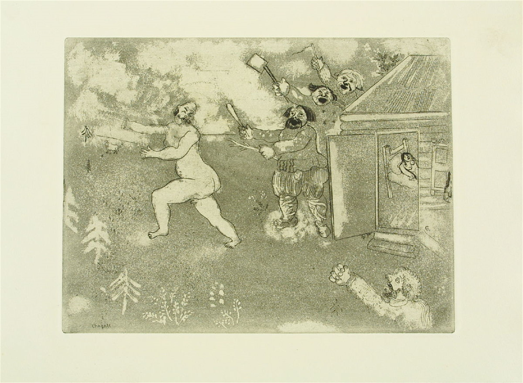 La Fuite Tout Nu (Escape in Nature's Grab) by Marc Chagall