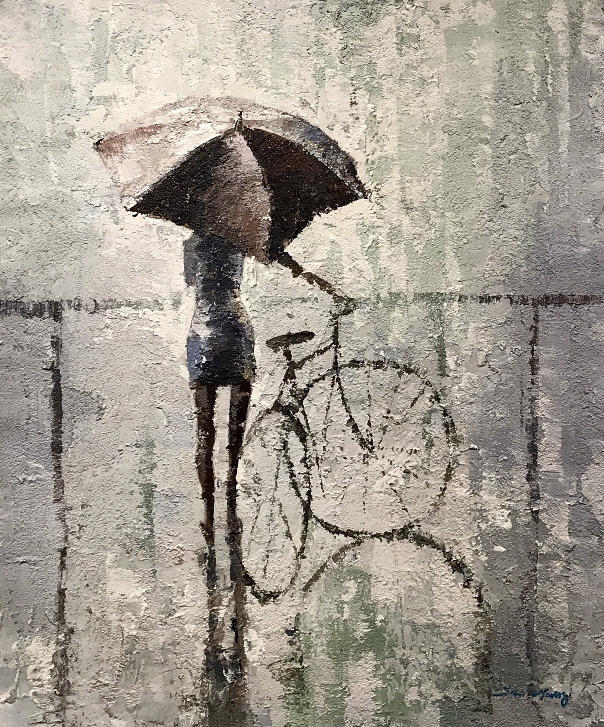 WALKING BICYCLE WITH UMBRELLA by YANG