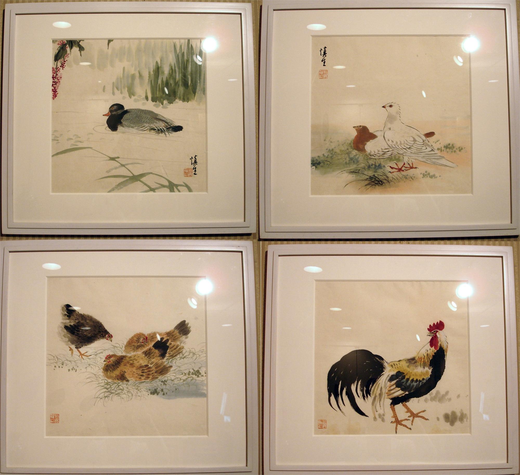SET OF FOUR JAPANESE BIRD WATERCOLORS