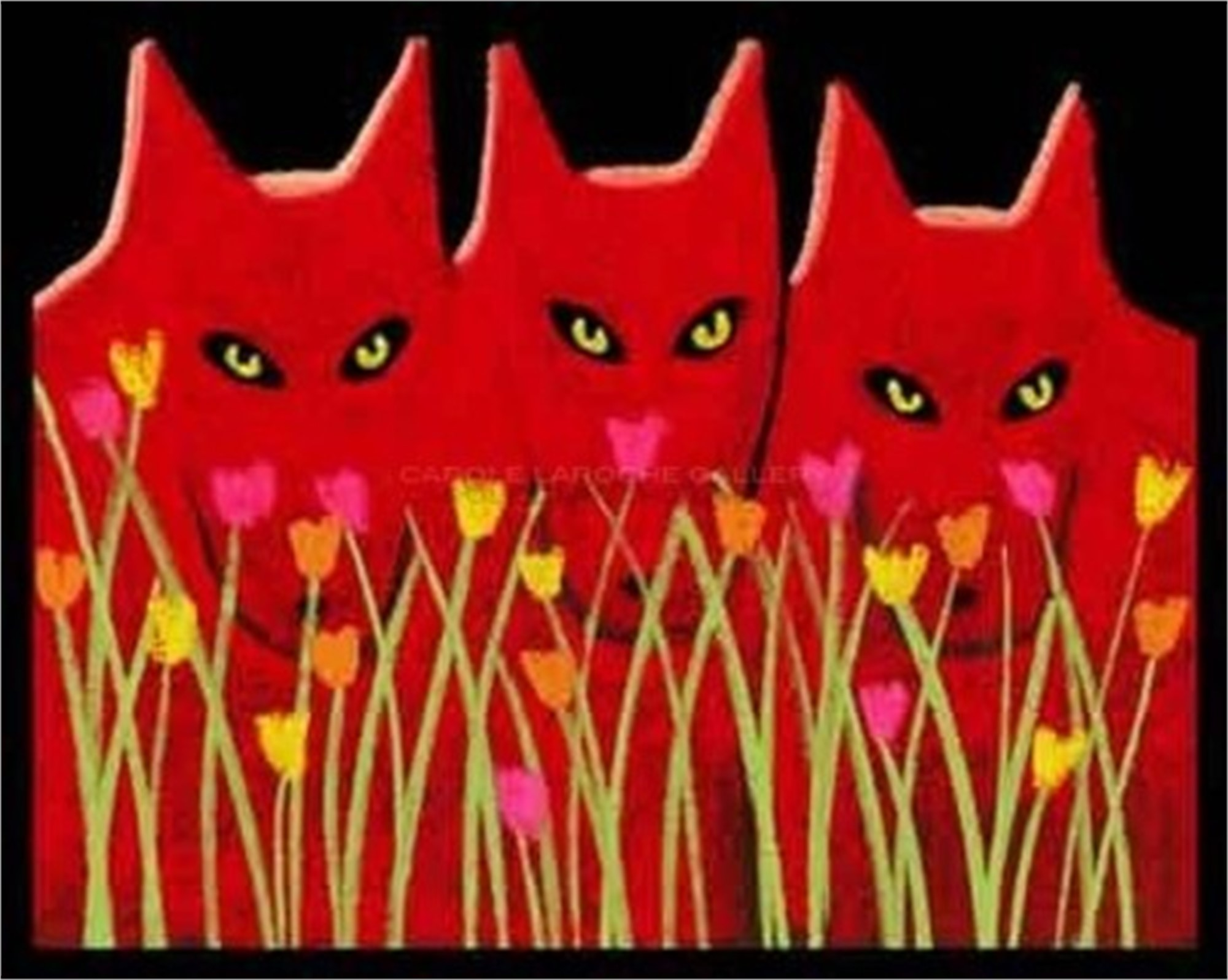 "THREE RED WOLVES AND WILDFLOWERS - limited edition giclee on paper w/frame size of 23""x27"" by Carole LaRoche"