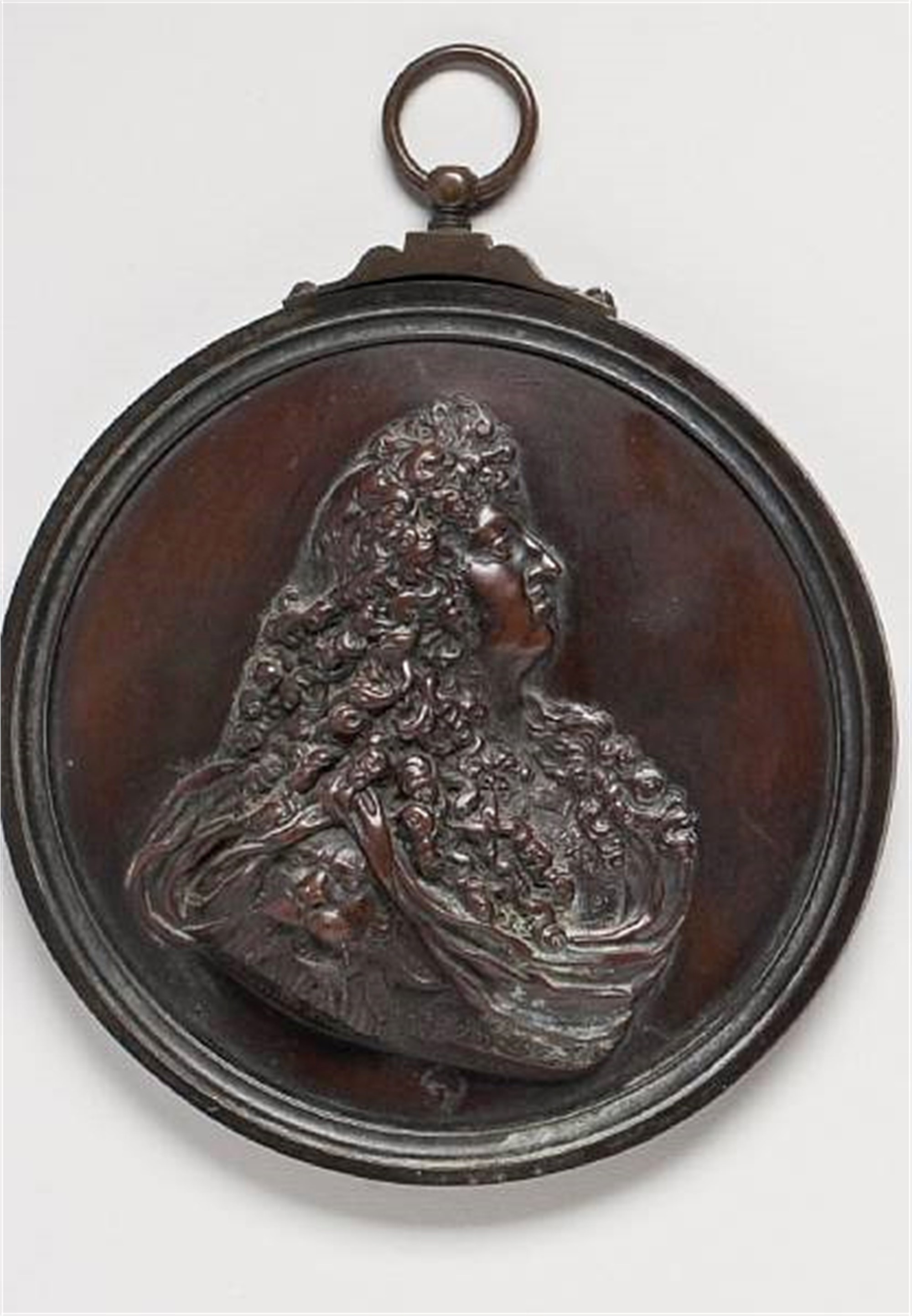 LOUIS XVI PATINATED BRONZE PORTRAIT MEDALLION
