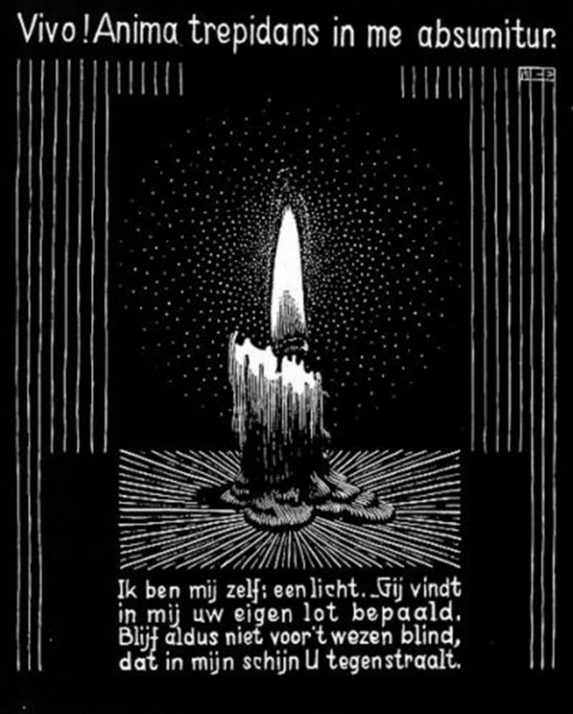 Emblemata - Candle Flame by M.C. Escher