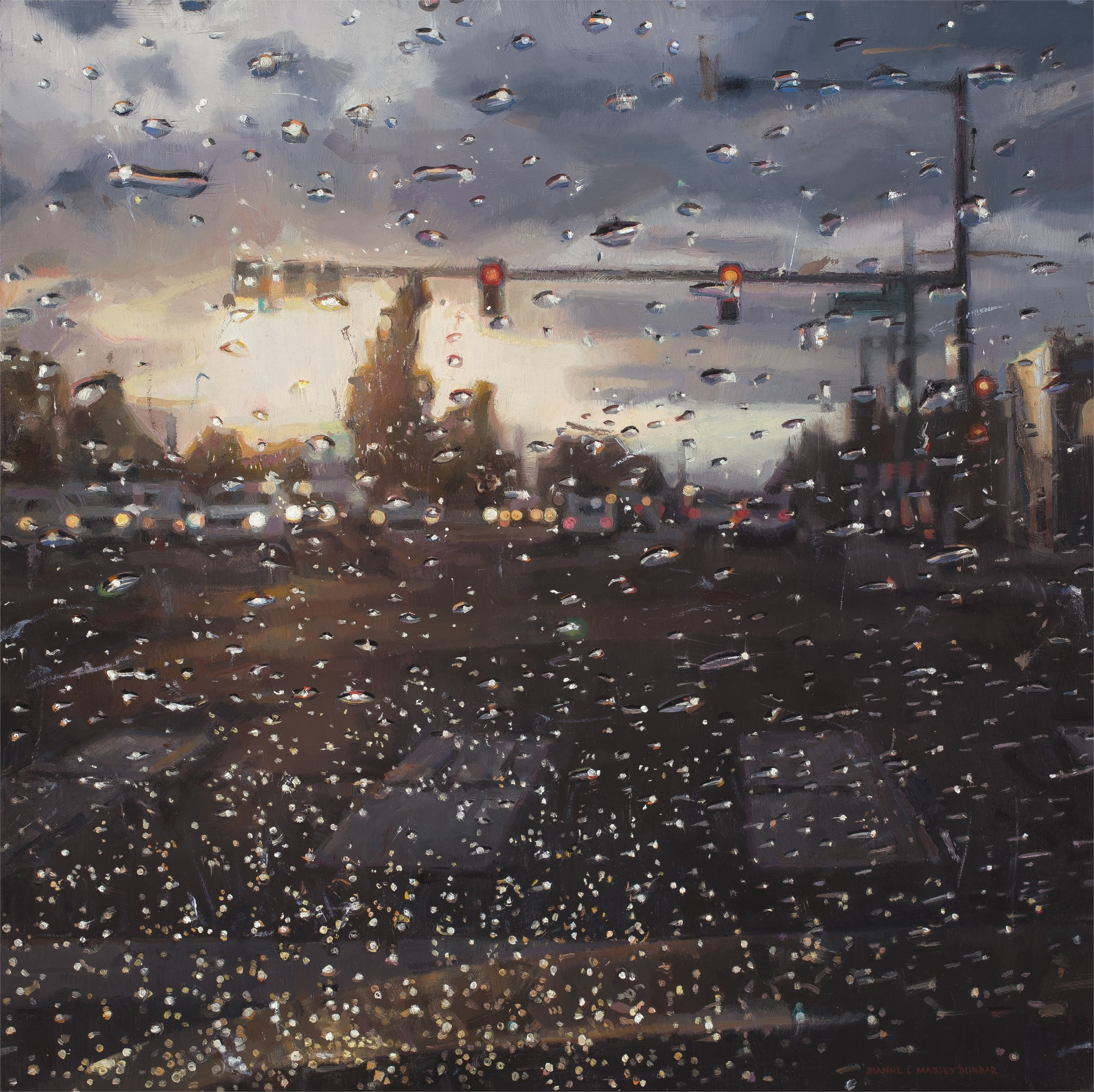 Rain on Windshield: Morning Commute by Dianne L Massey Dunbar
