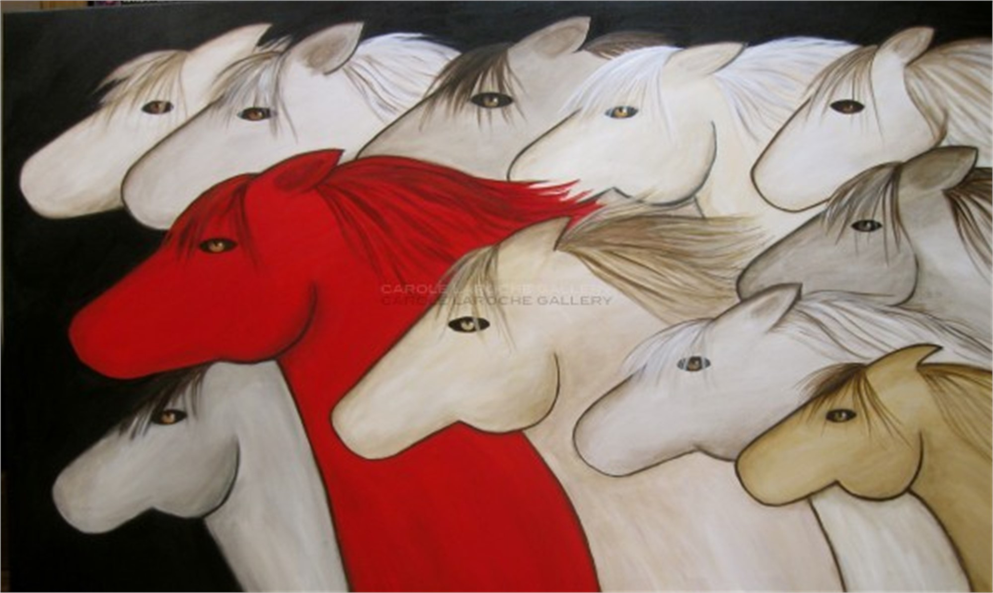 "RED PONY limited edition giclee on canvas LARGE 40""x65"" $3500 or MEDIUM 24""x40"" $2200 by Carole LaRoche"