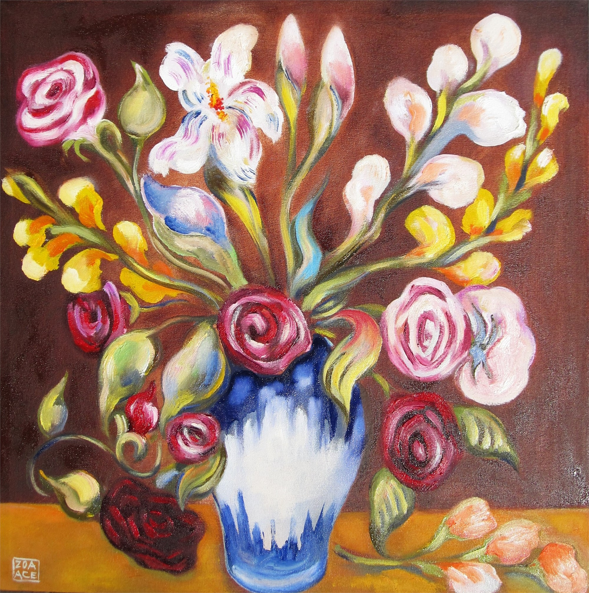 Bouquet on Brown by Zoa Ace