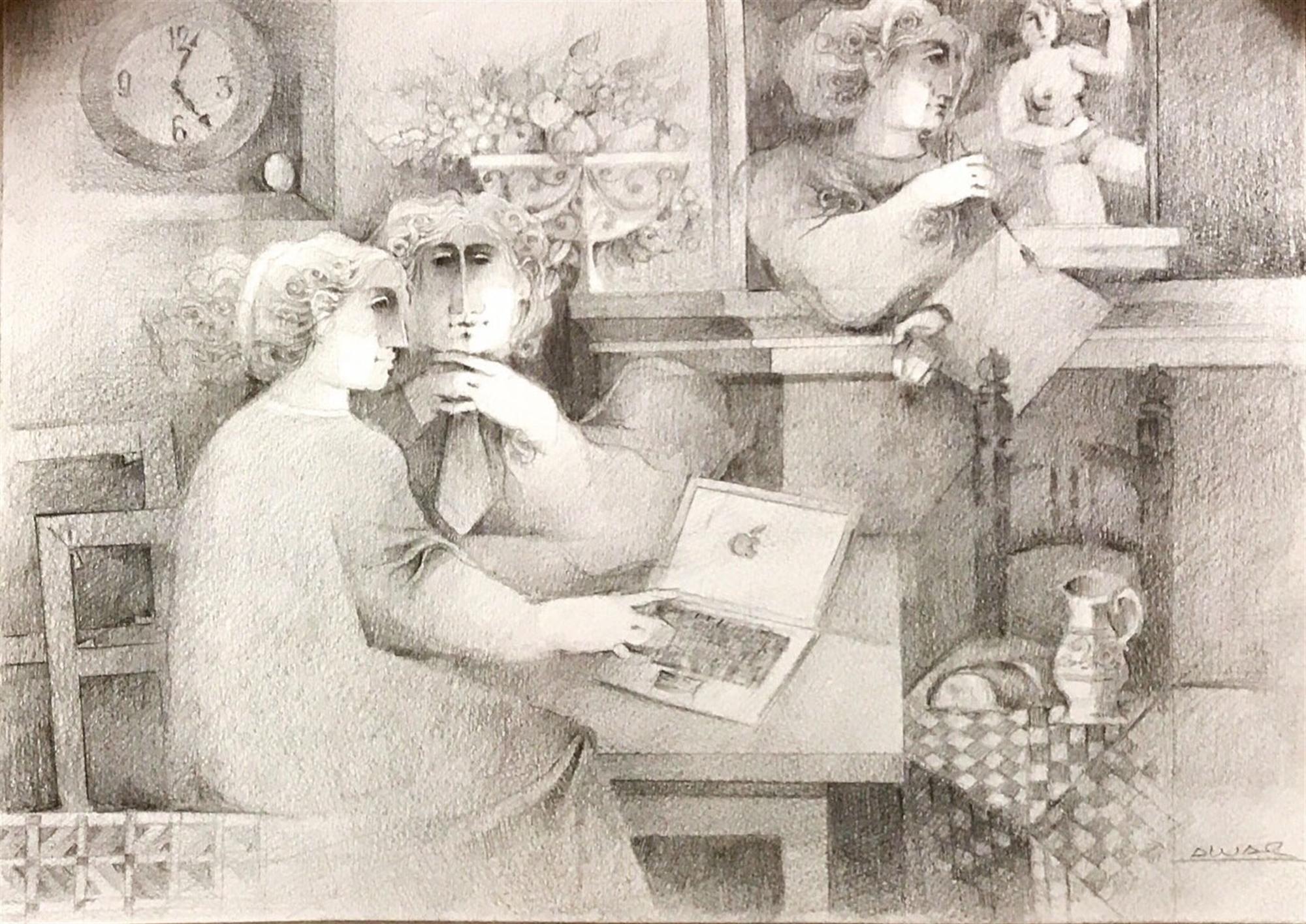 Study Drawing for Interieur Chez un Peintre by Alvar Suñol