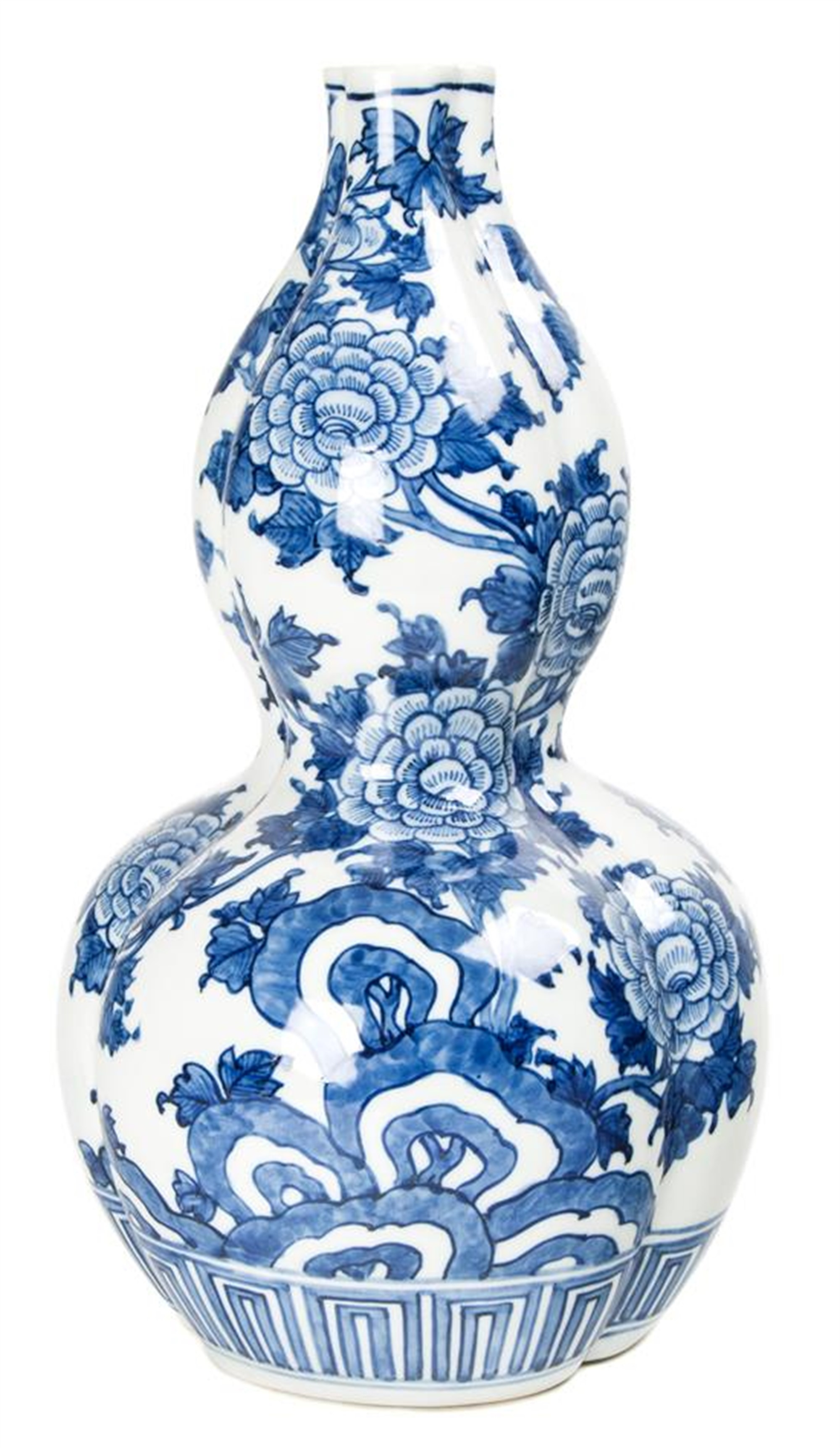 JAPANESE BLUE AND WHITE PORCELAIN DOUBLE GOURD-FORM VASE