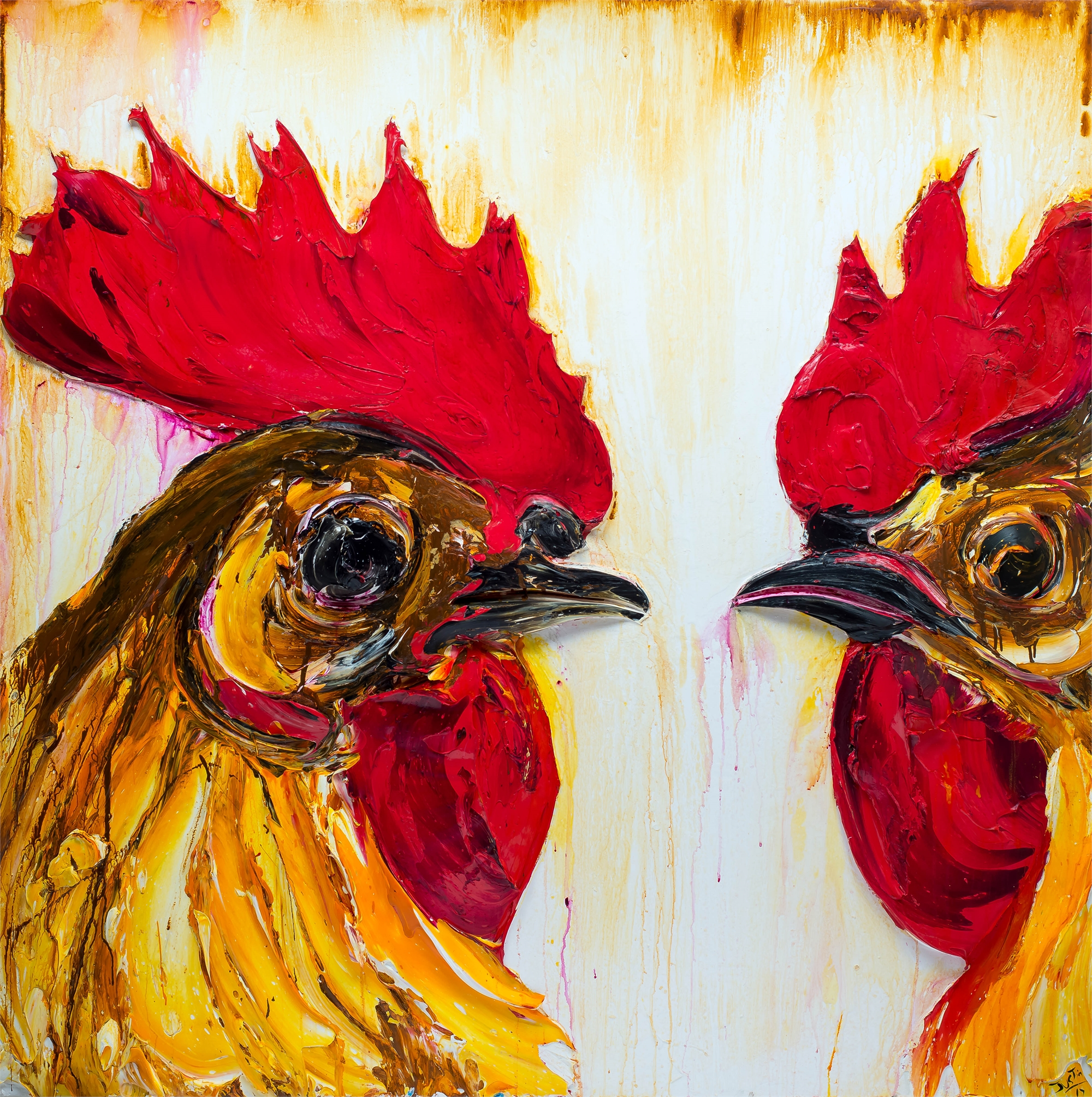 Roosters by JUSTIN GAFFREY