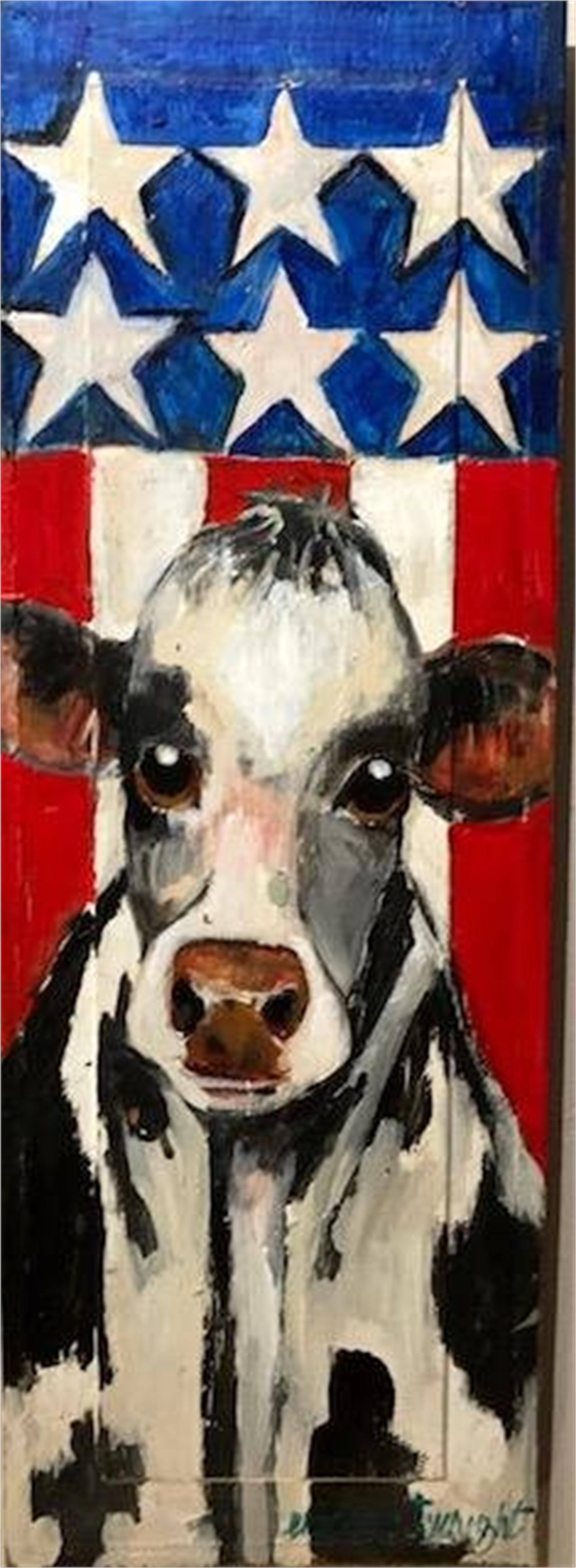 Cow w/Flag by Sandra Erickson Wright