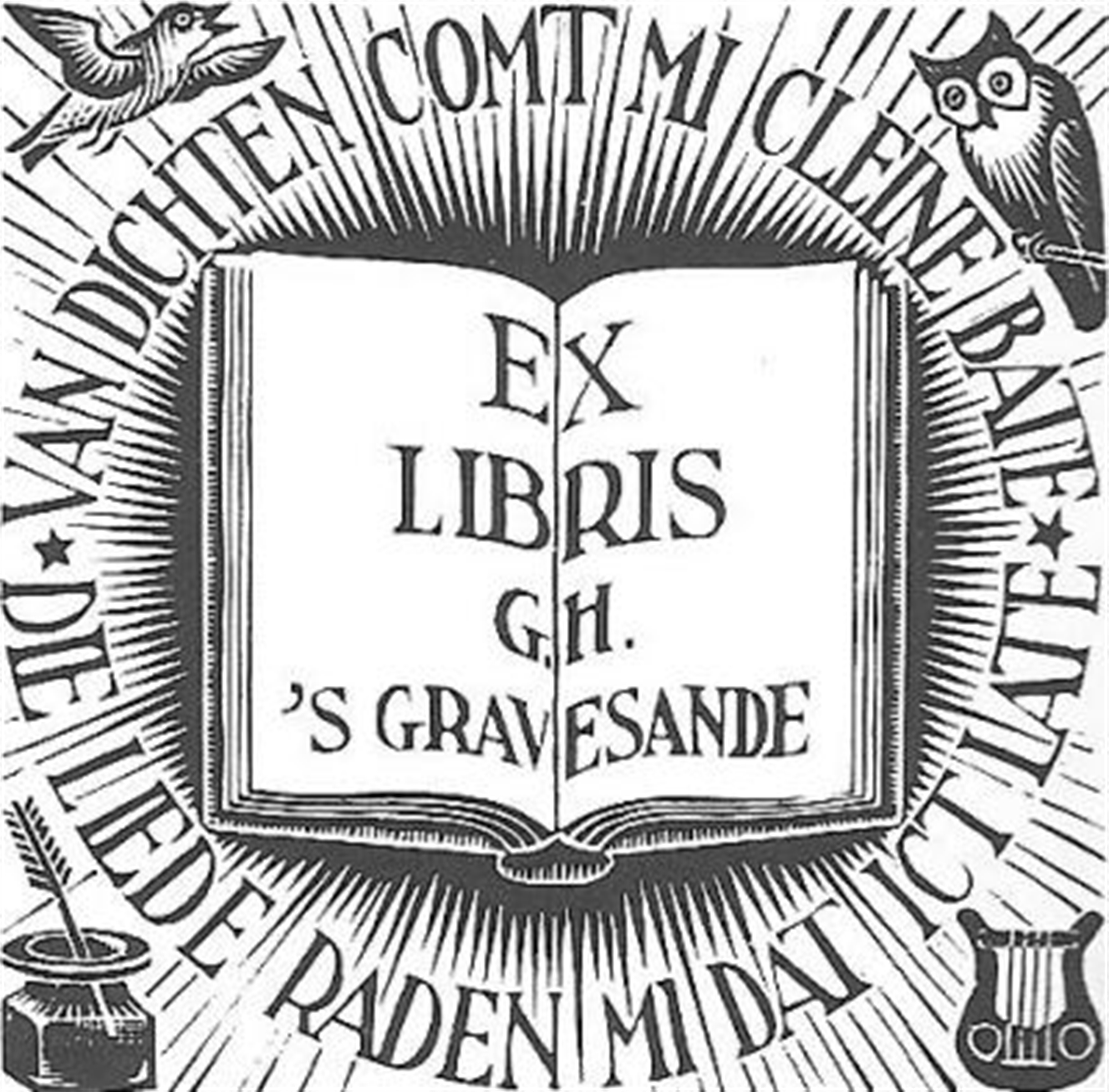 Bookplate G.H.'s- Gravesande by M.C. Escher
