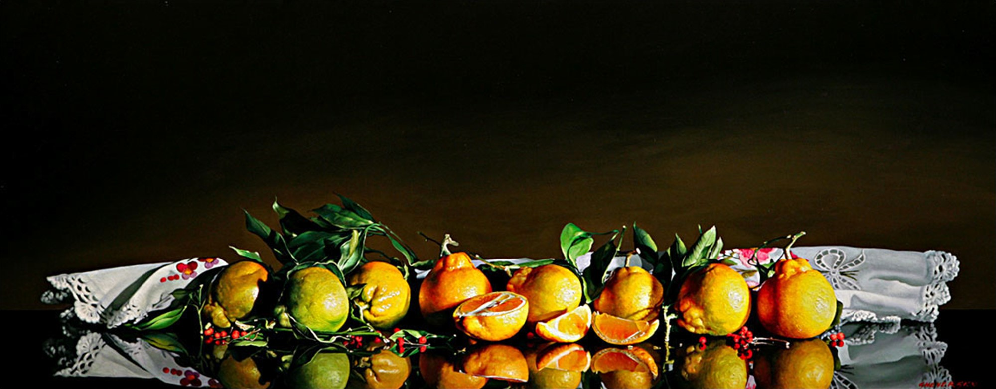 Still Life with Eight Mandarins by Alexander Sheversky