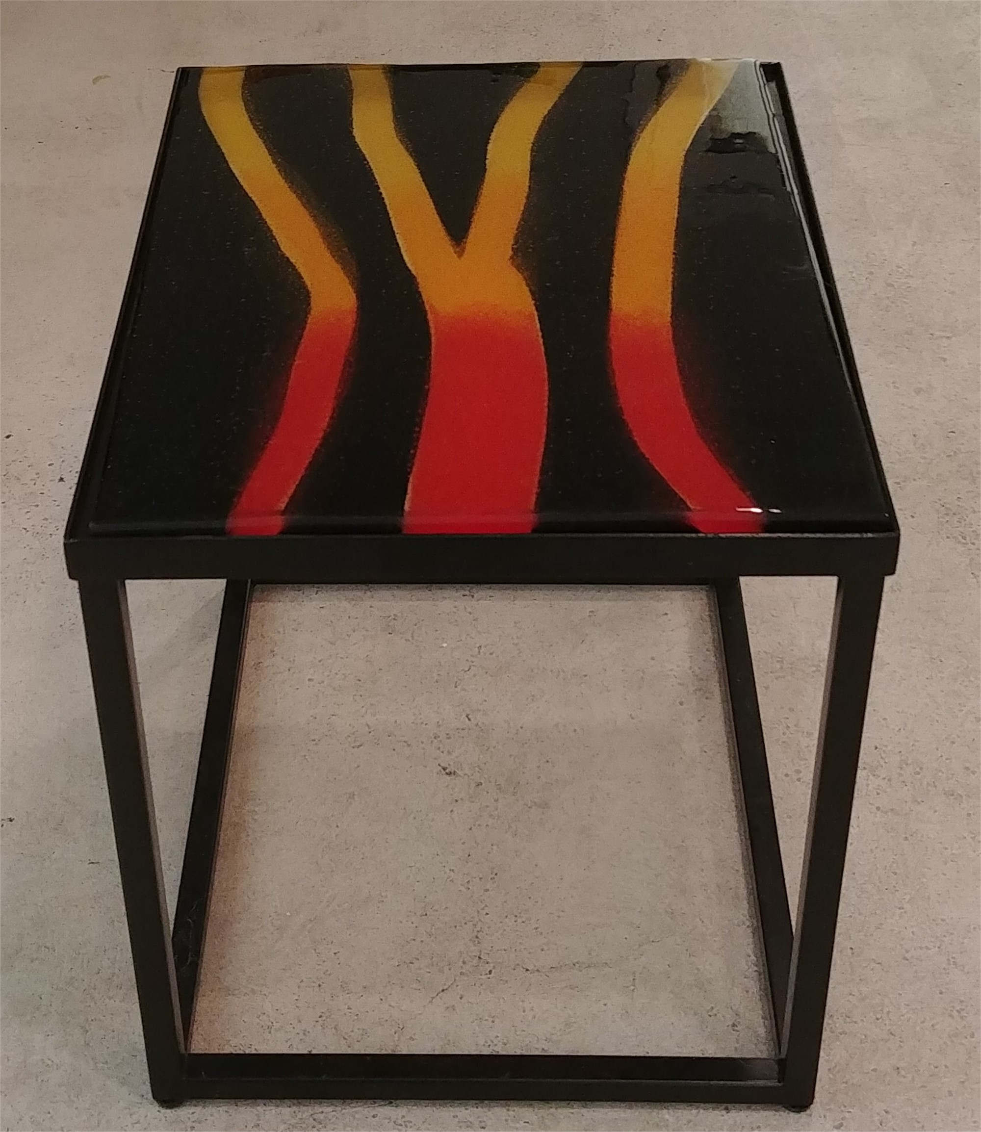 Fire Glass Table by Mary Volm (Carlton, OR)