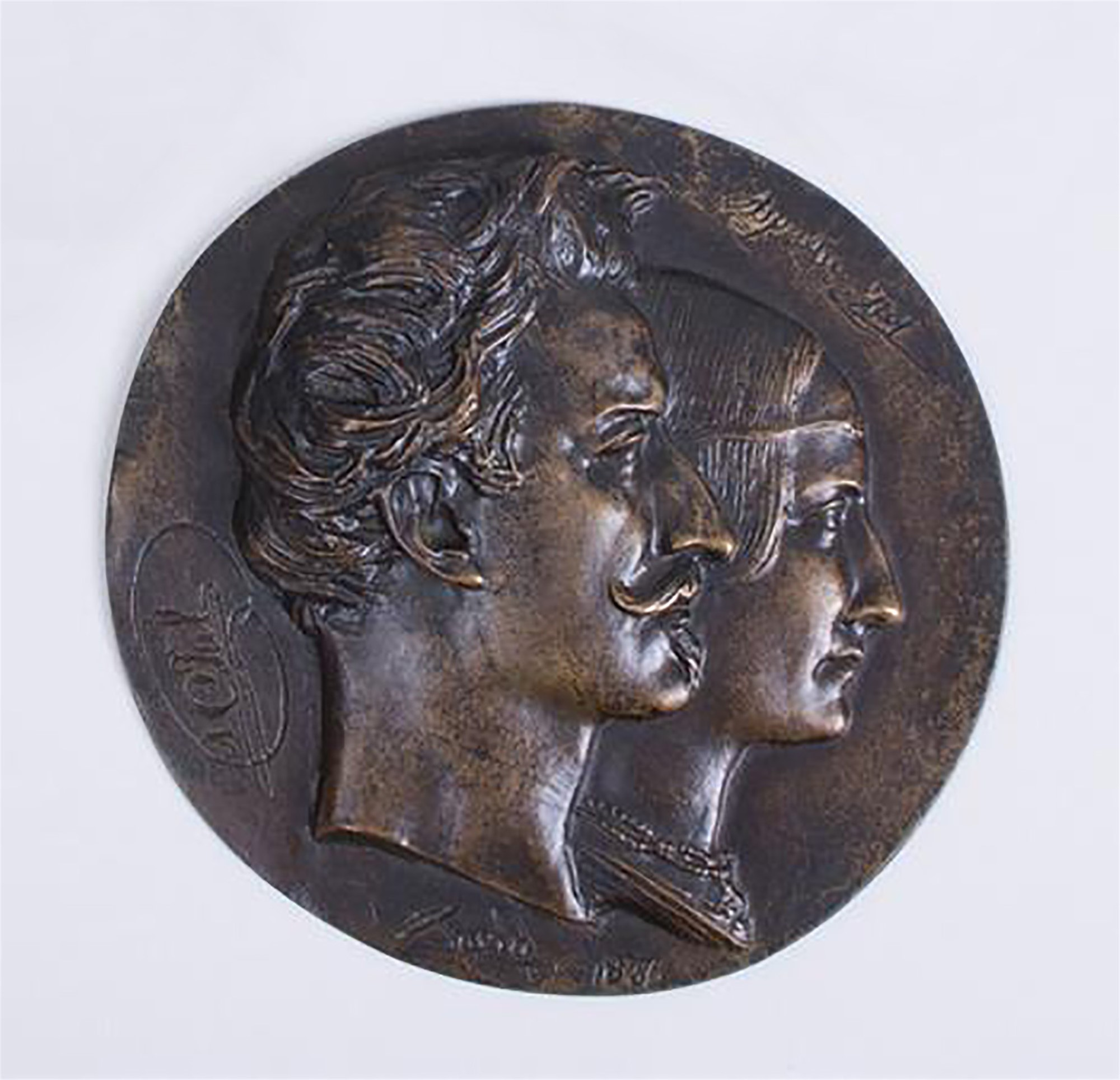 BRONZE RONDEL OF COUPLE by David D'Angers