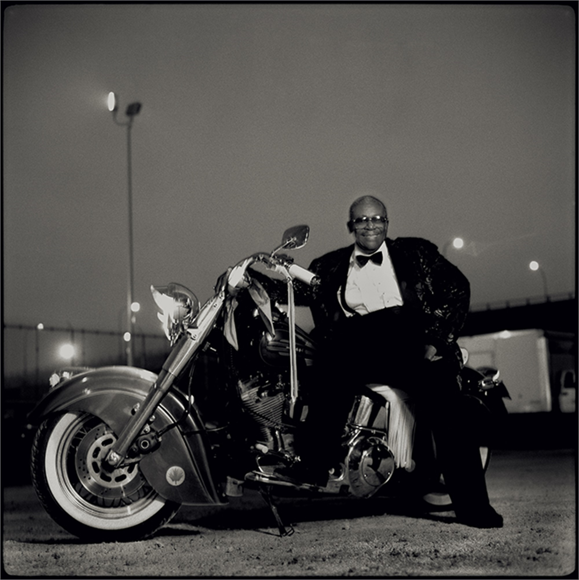 97055 B.B. King on Motorcycle BW by Timothy White