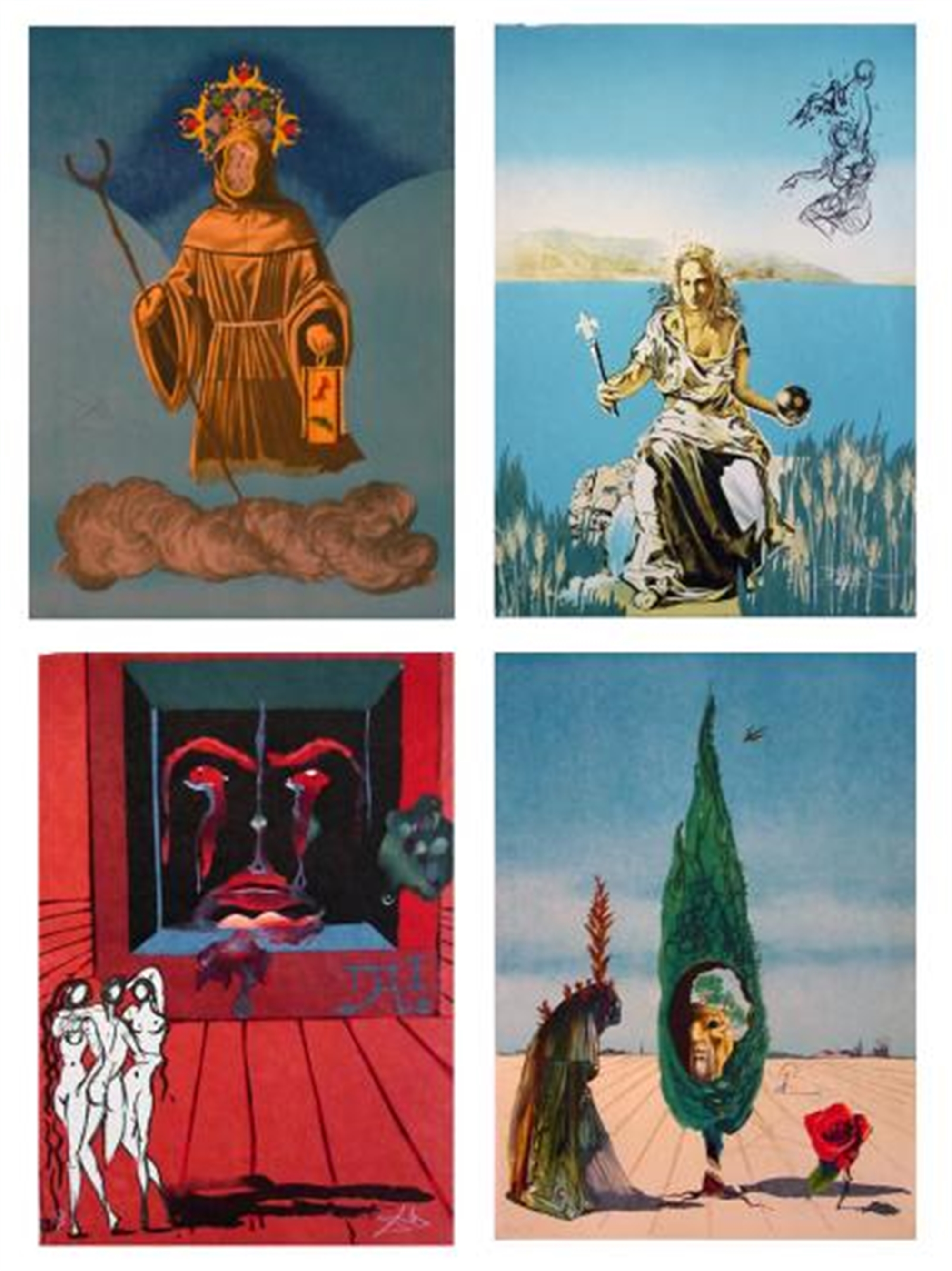 Tarot Suite of 4 Visions Surrealiste by Salvador Dali