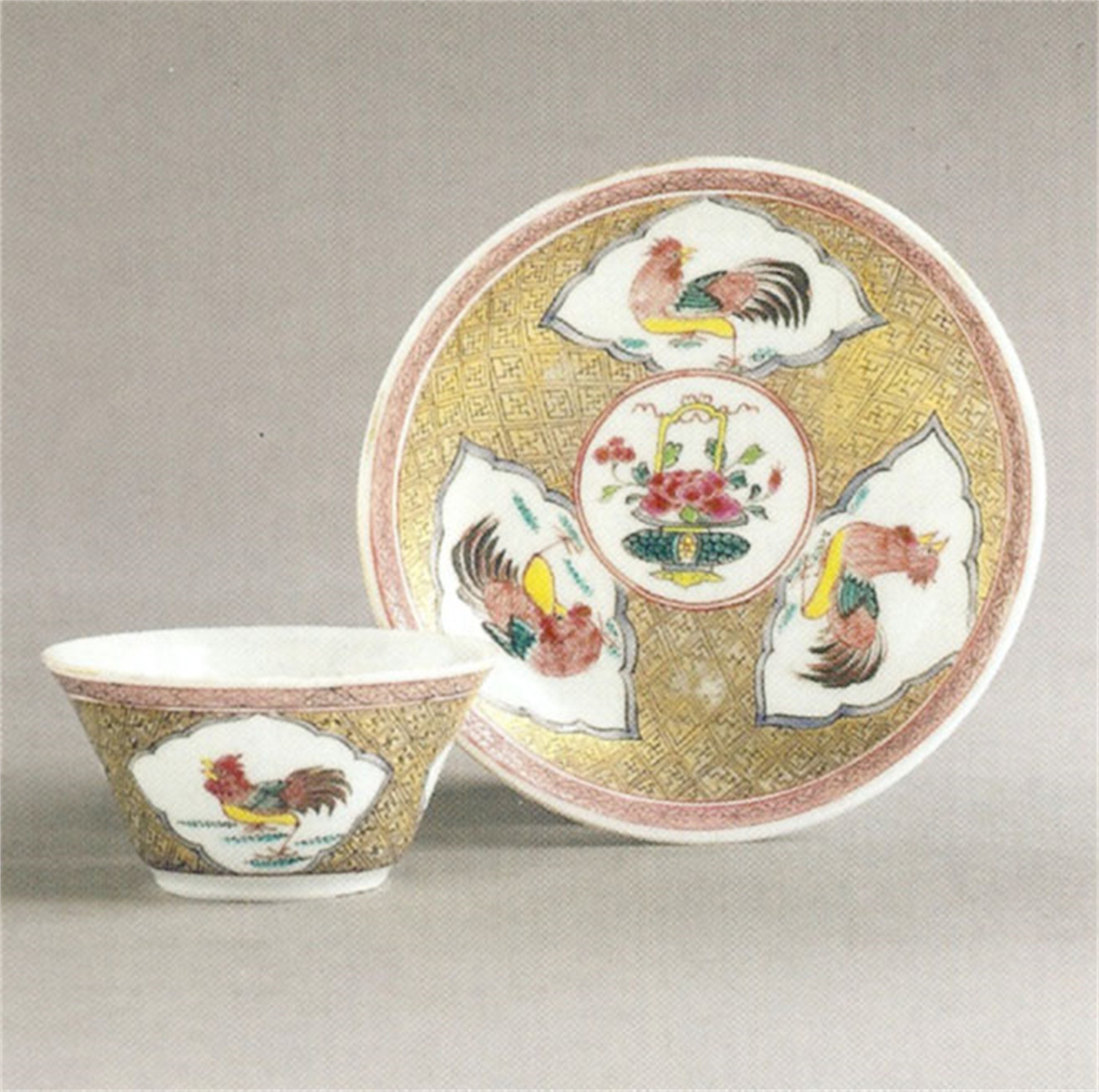 CHINESE EXPORT FAMILLE-ROSE EGGSHELL TEA BOWL AND SAUCER