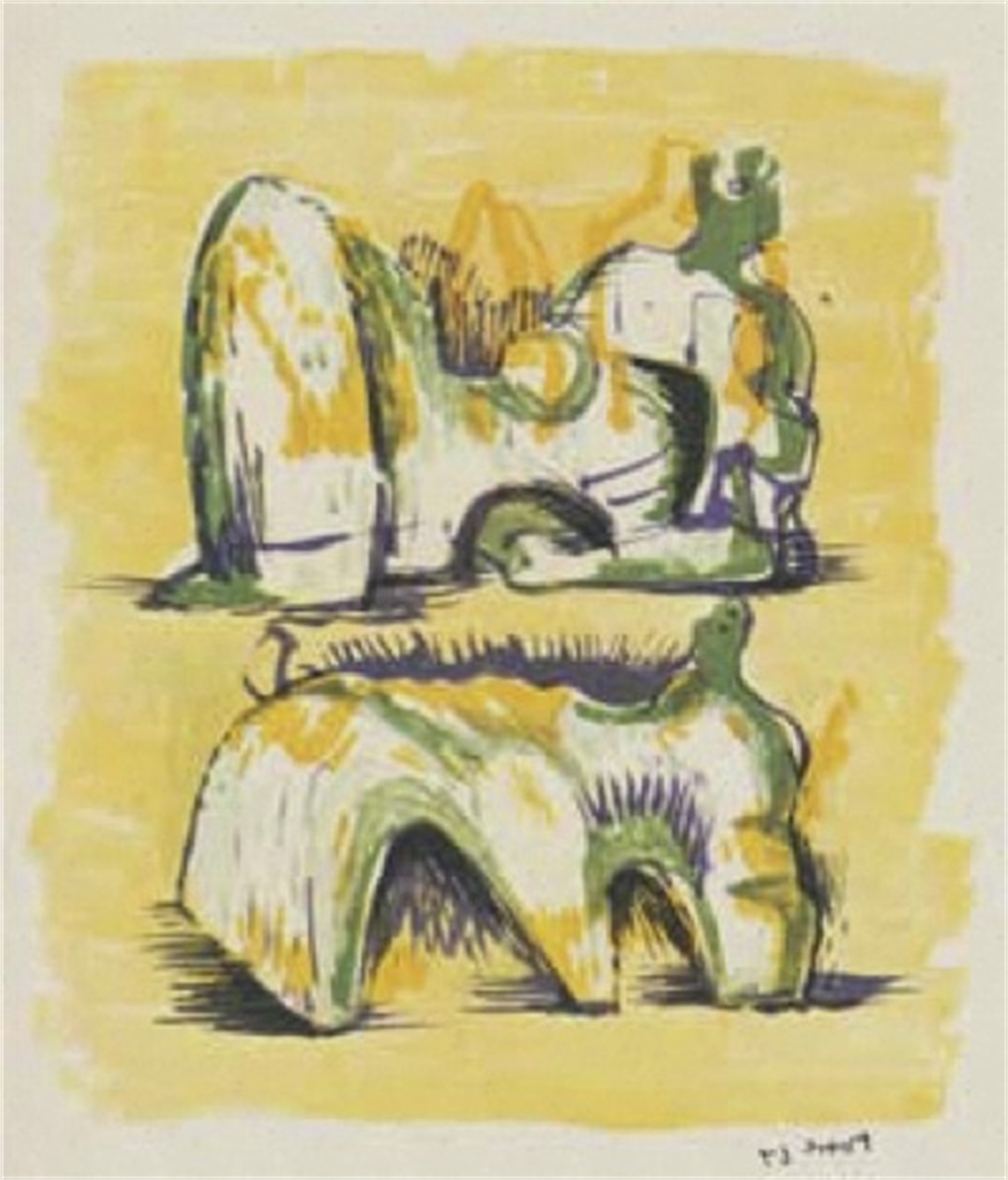 Two Reclining Figures in Yellow and Green by Henry Moore