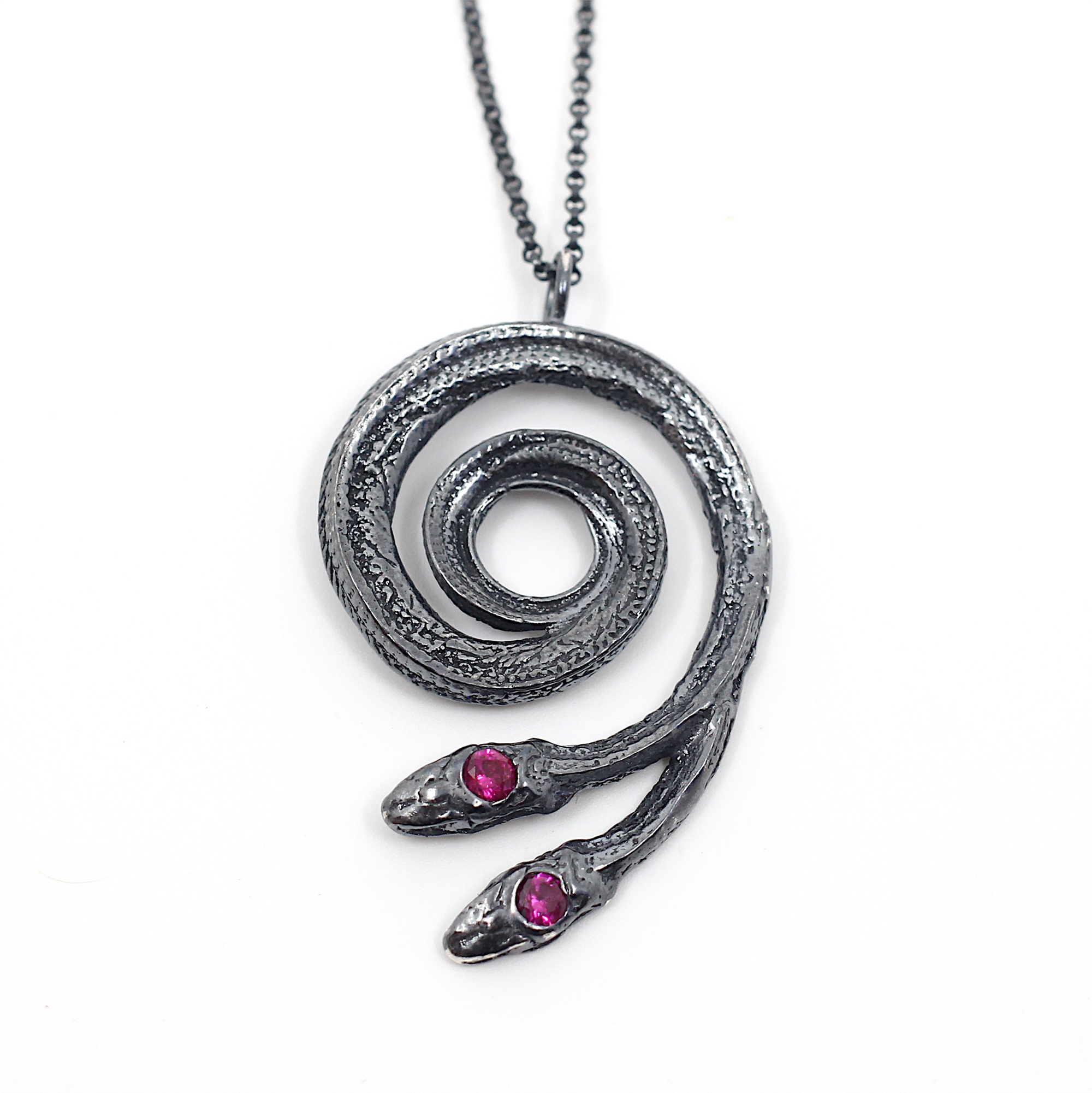 Two-headed Ruby Serpentine Necklace by Anna Johnson