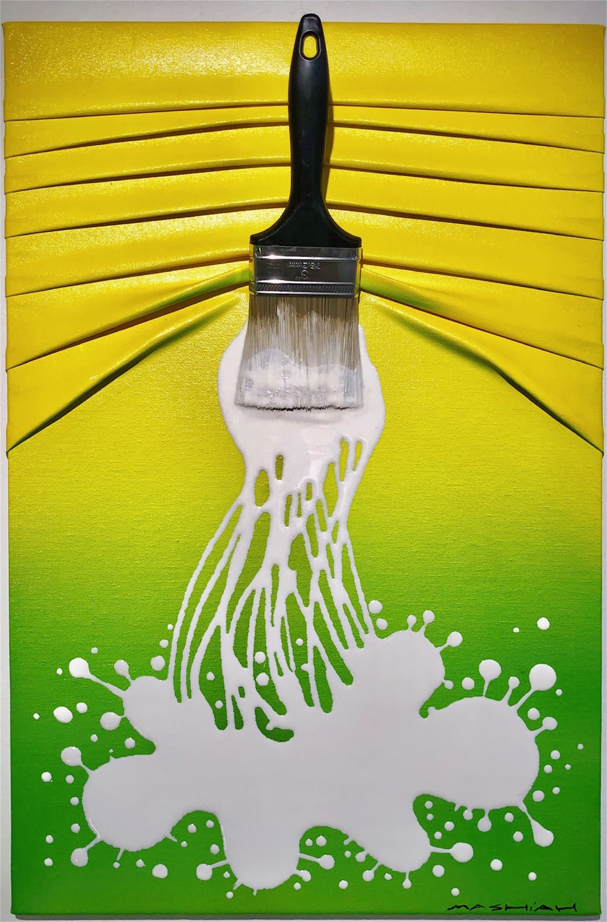 """Let's Paint"" small, White splash on Yellow/Green by Efi Mashiah"