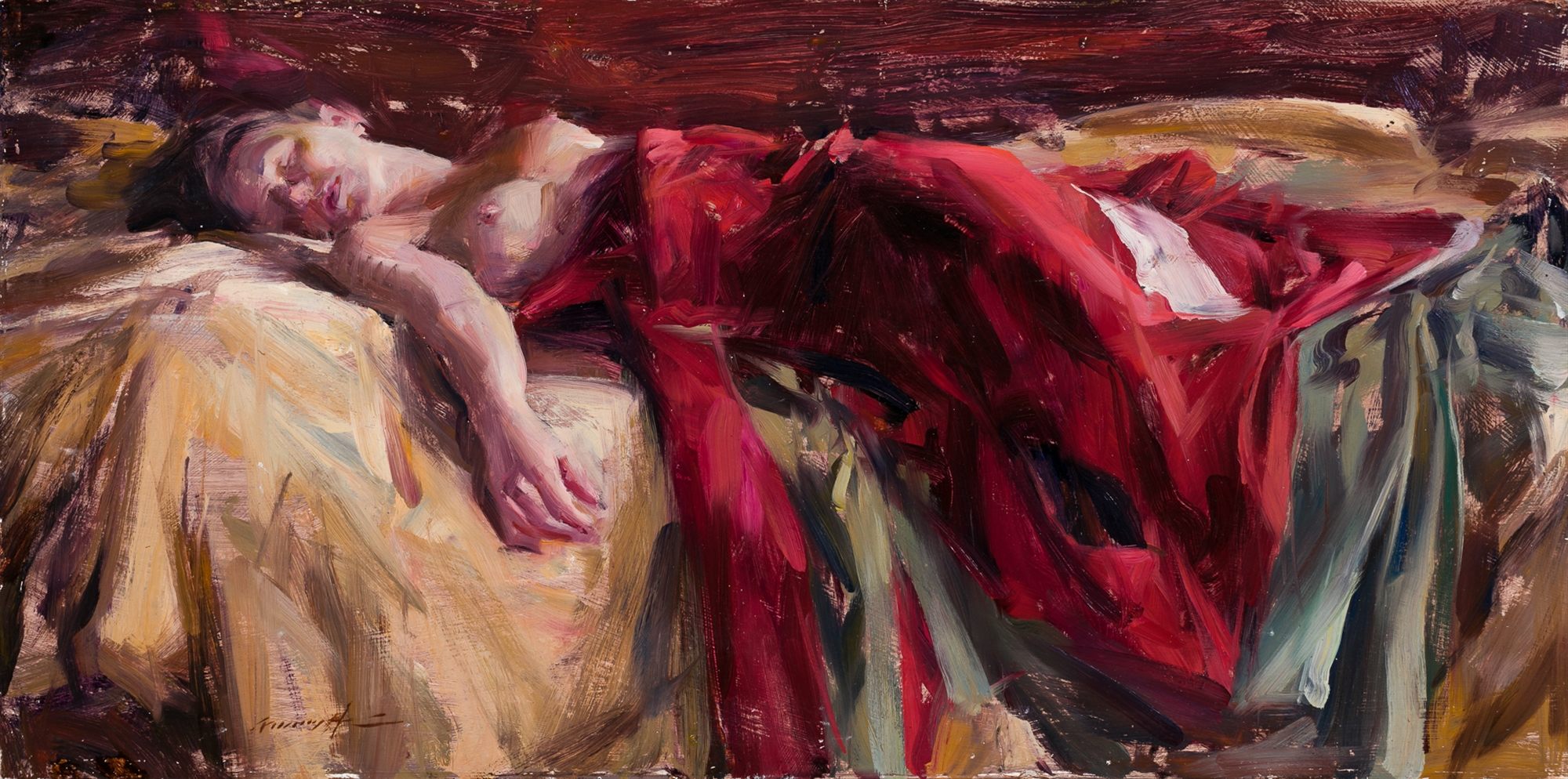 Reclining Figure With Red Silk by Quang Ho