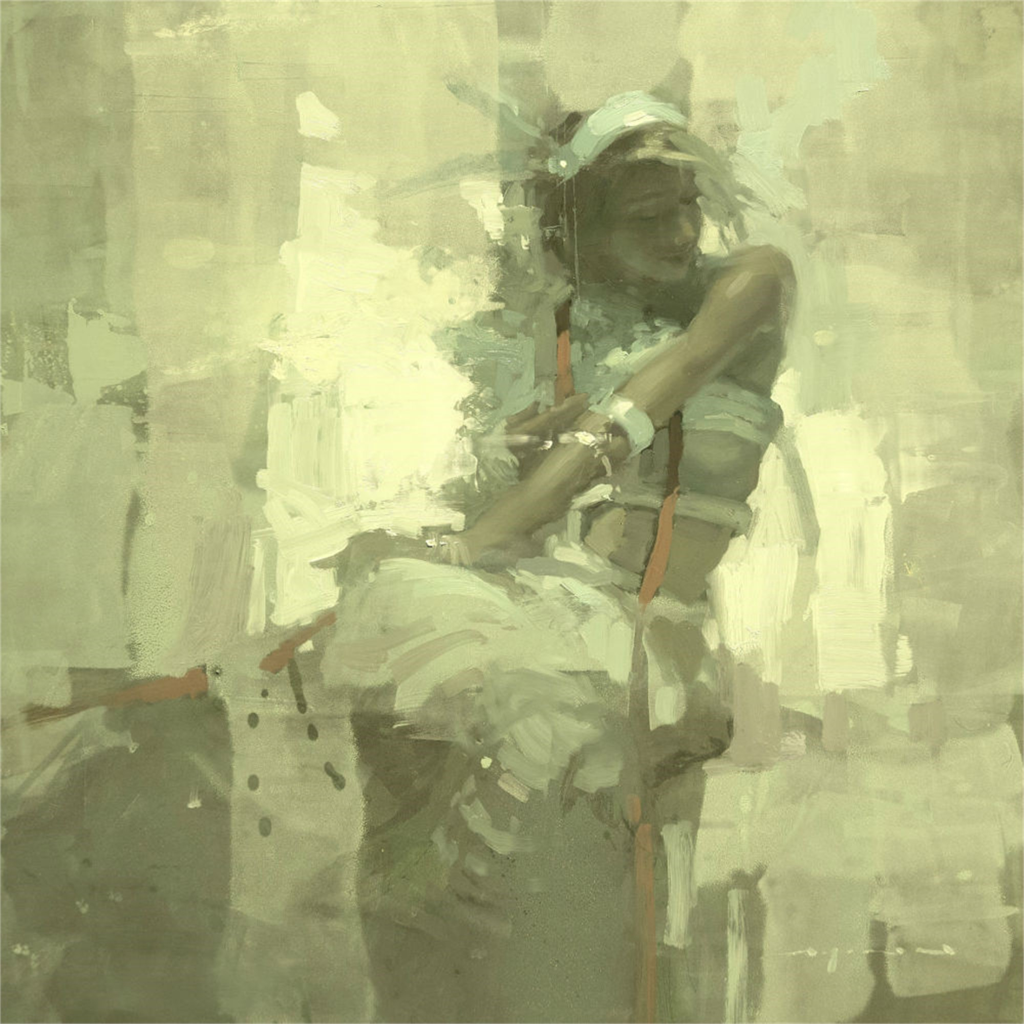 Note in Pale Green No. 6 by Jeremy Mann