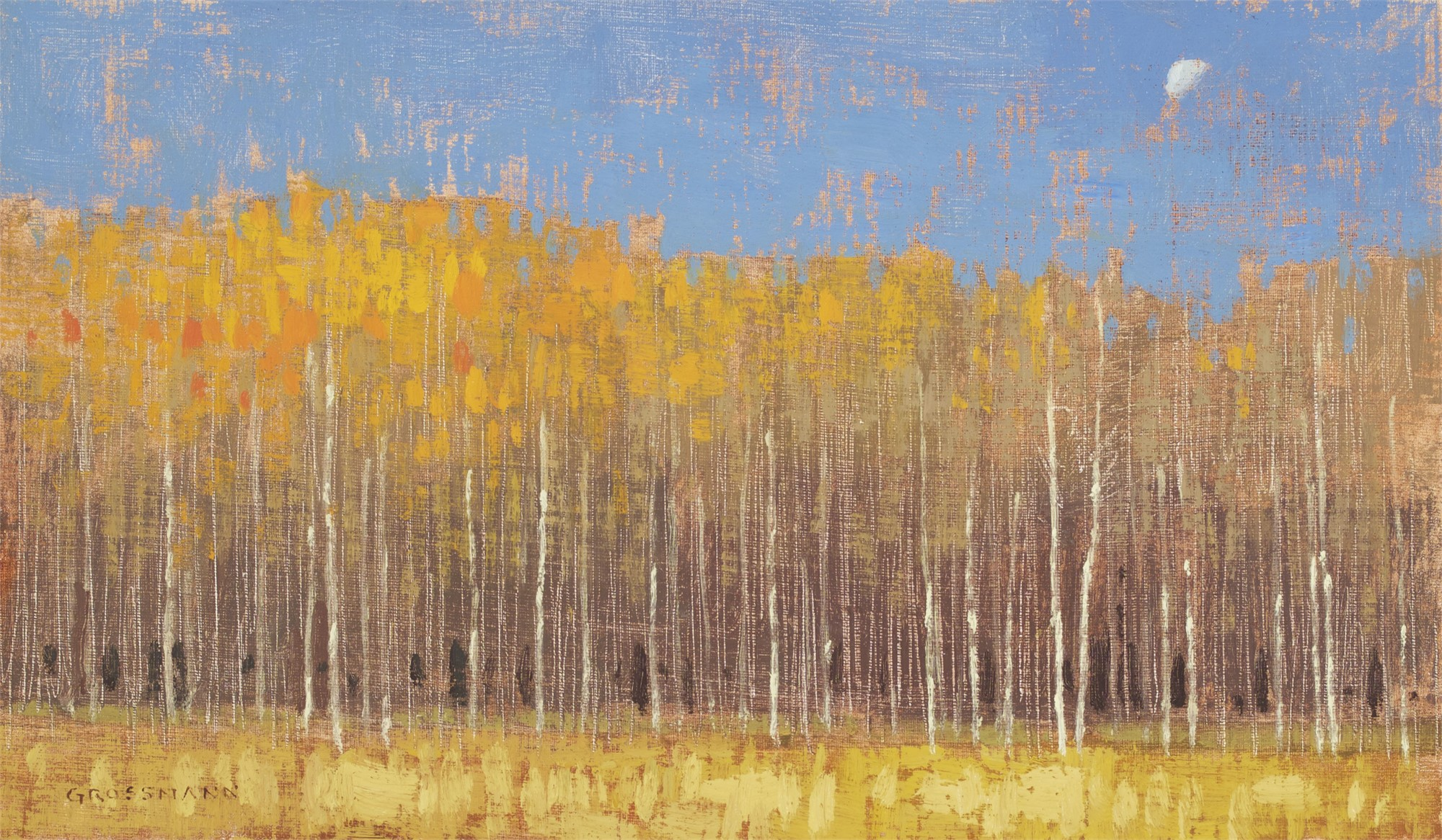 Moon and Lingering Leaves by David Grossmann