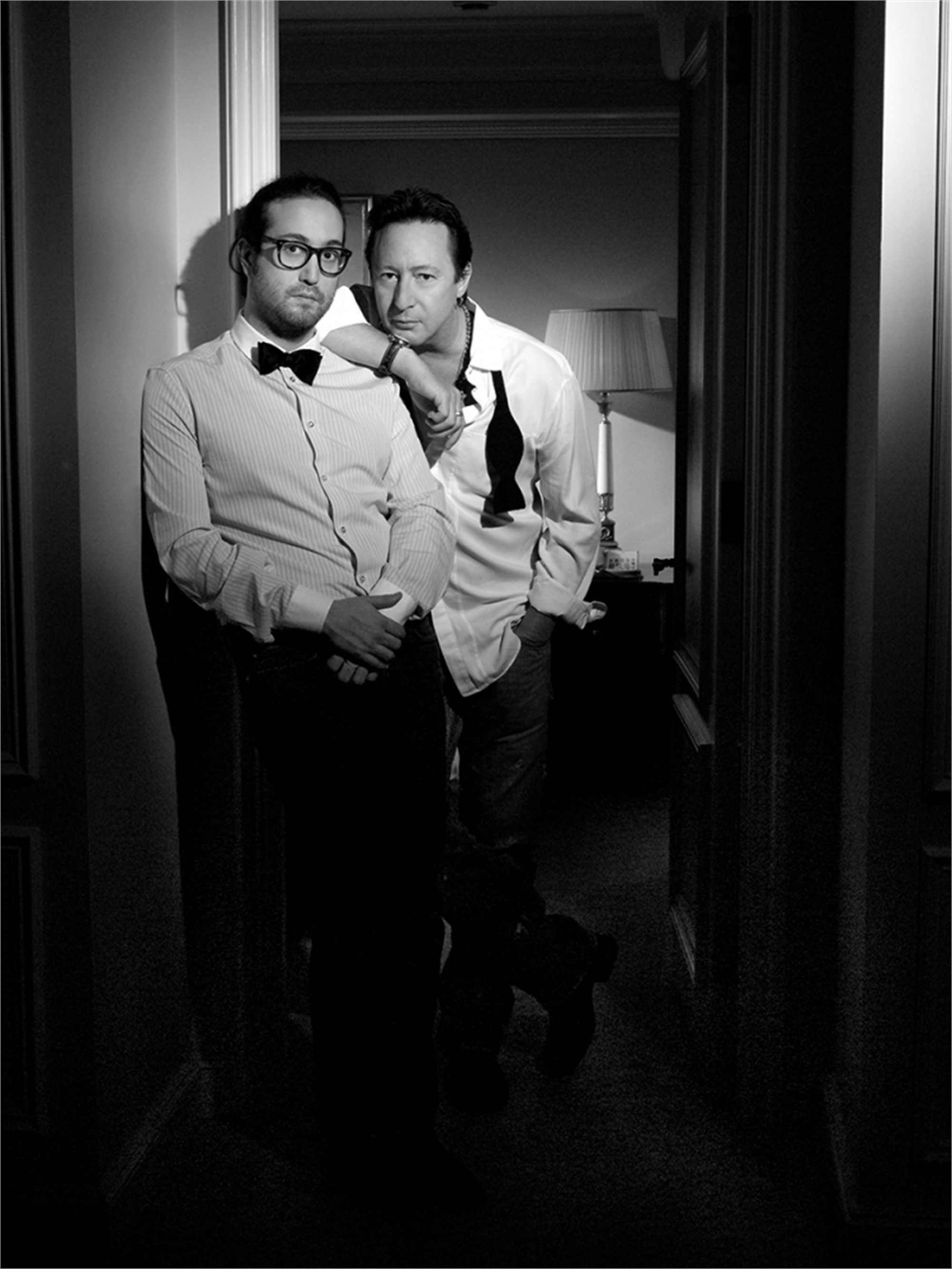 09011 Julian Lennon With Sean Lennon BW by Timothy White