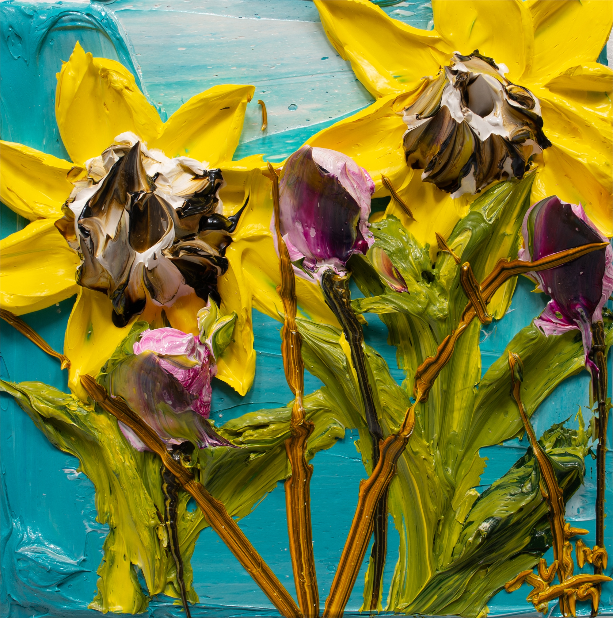 SUNFLOWERS-SF-12X12-2019-185 by JUSTIN GAFFREY