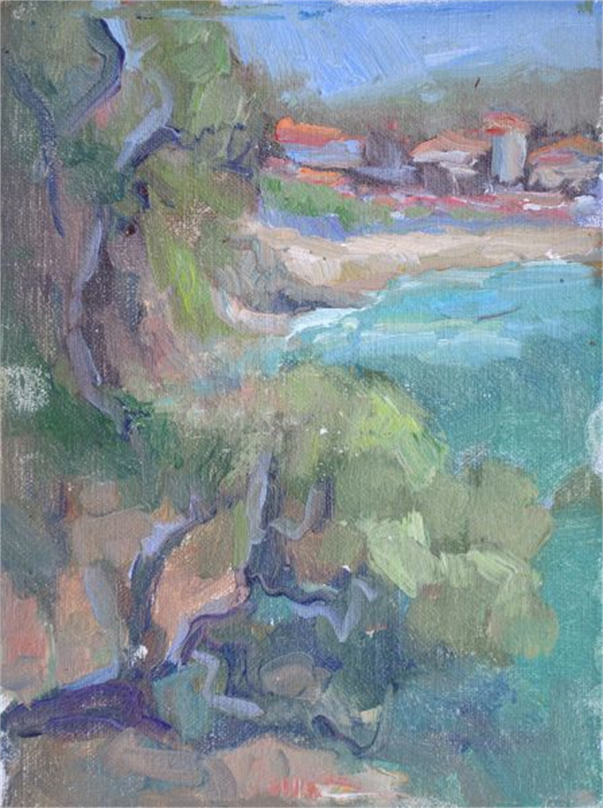 Winding Road by the Sea in Spain by Karen Hewitt Hagan